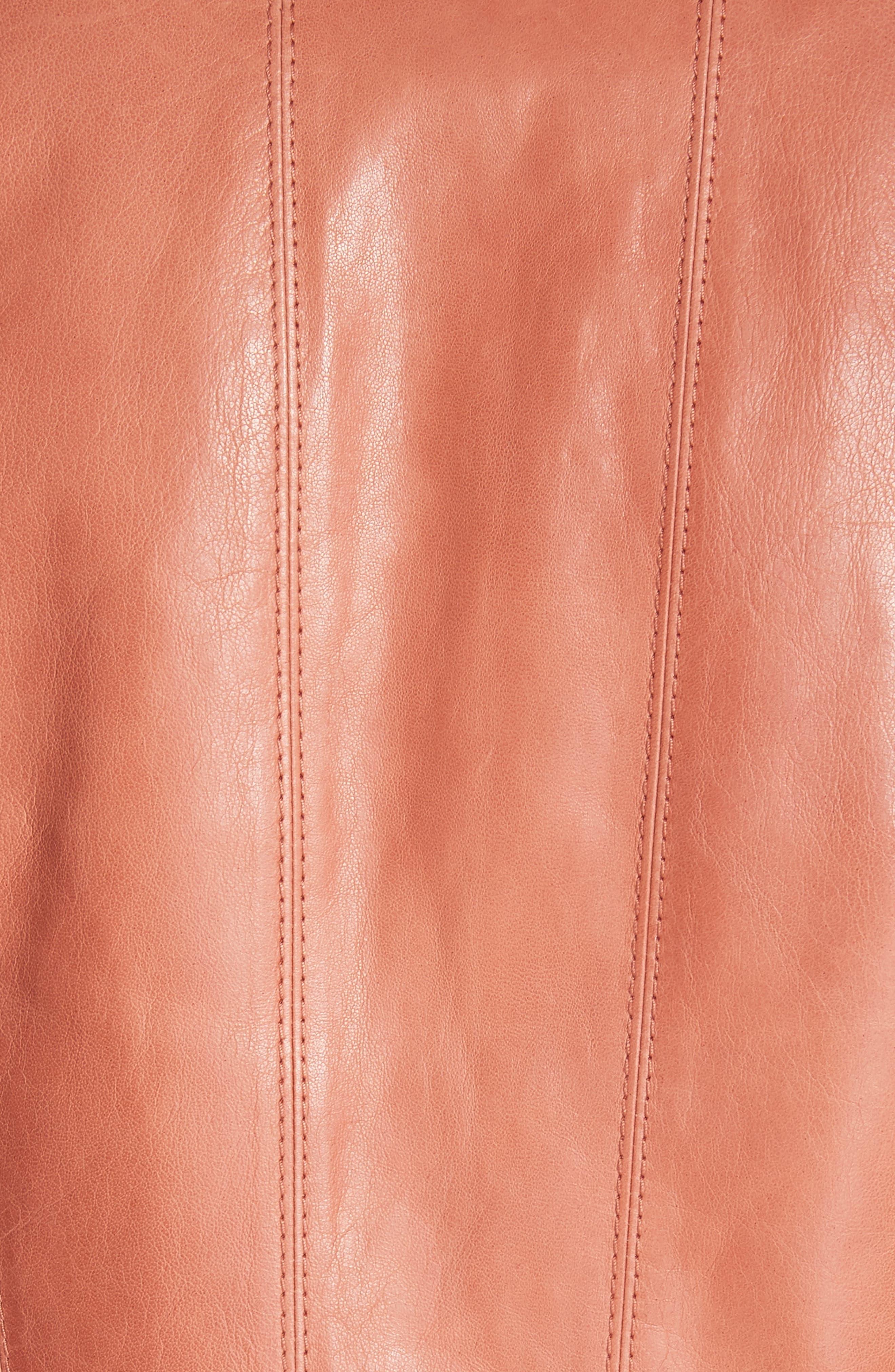 Courtney Glazed Lambskin Leather Jacket,                             Alternate thumbnail 6, color,                             Adobe