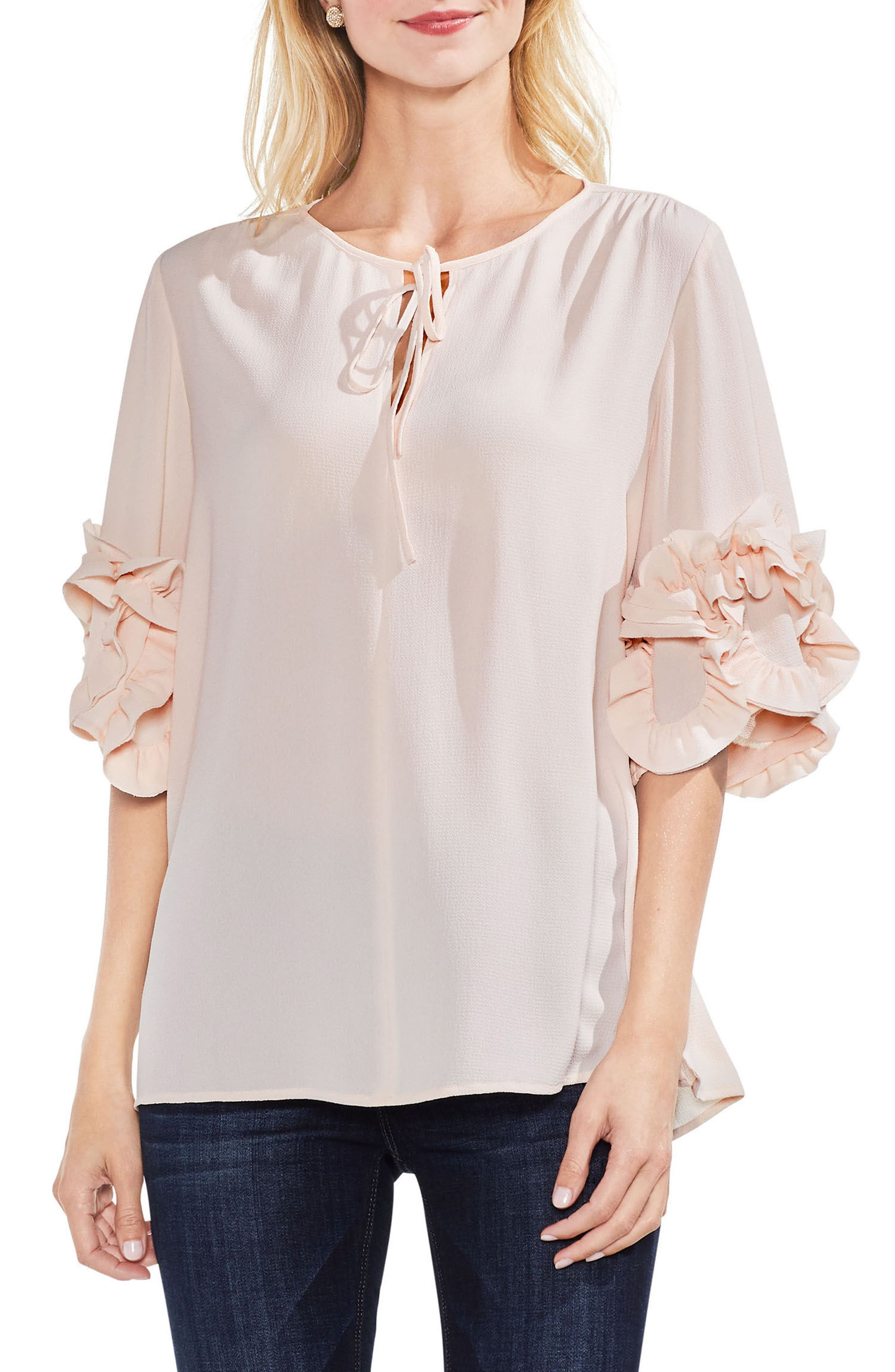 Ruffle Sleeve Tie Neck Blouse,                             Main thumbnail 1, color,                             Pink Mist