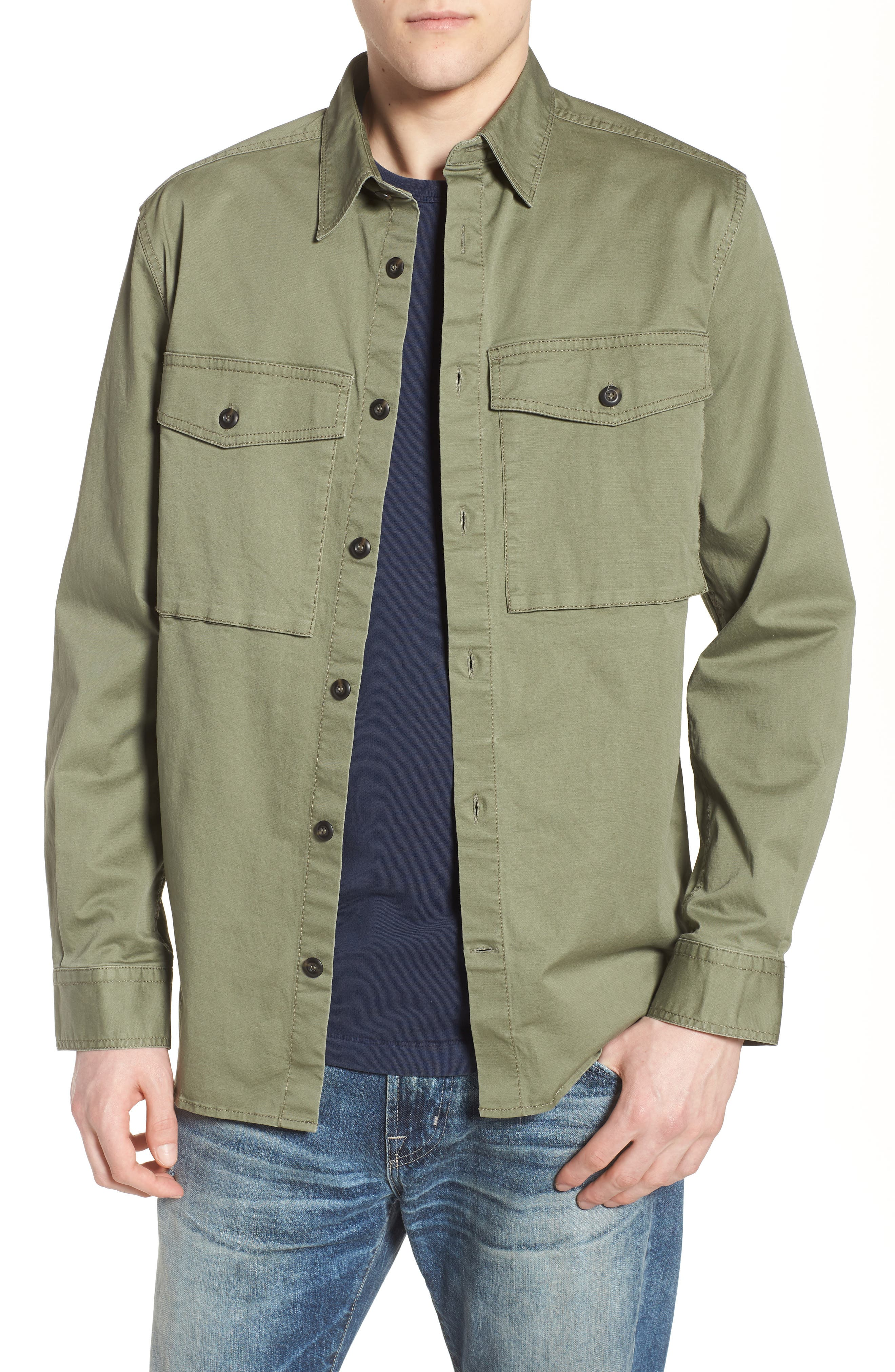 Twill Military Shirt Jacket,                         Main,                         color, Deep Lichen Green