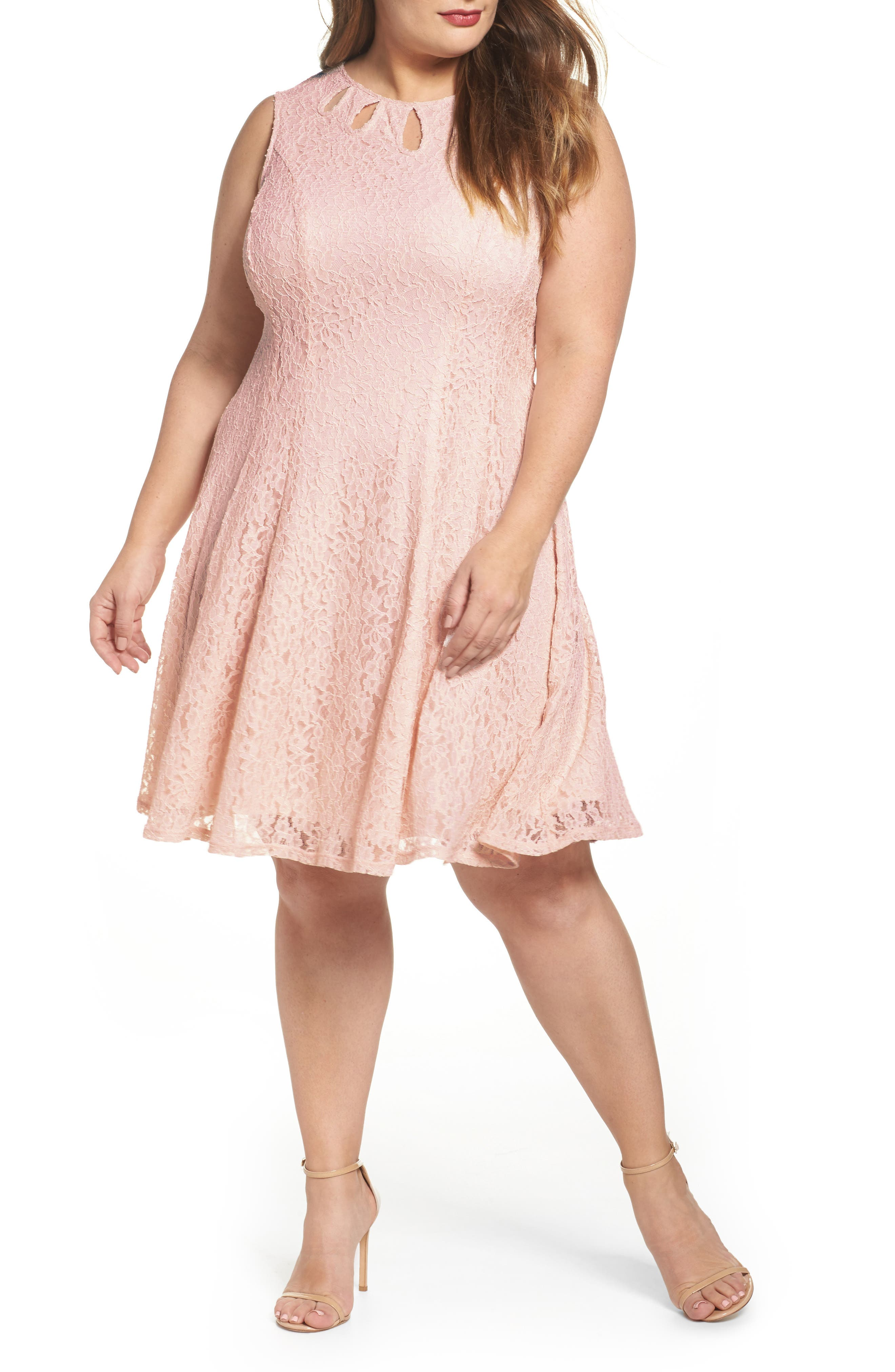 Lace Teardrop Cutout Fit and Flare Dress,                             Main thumbnail 1, color,                             Pink/ Pink
