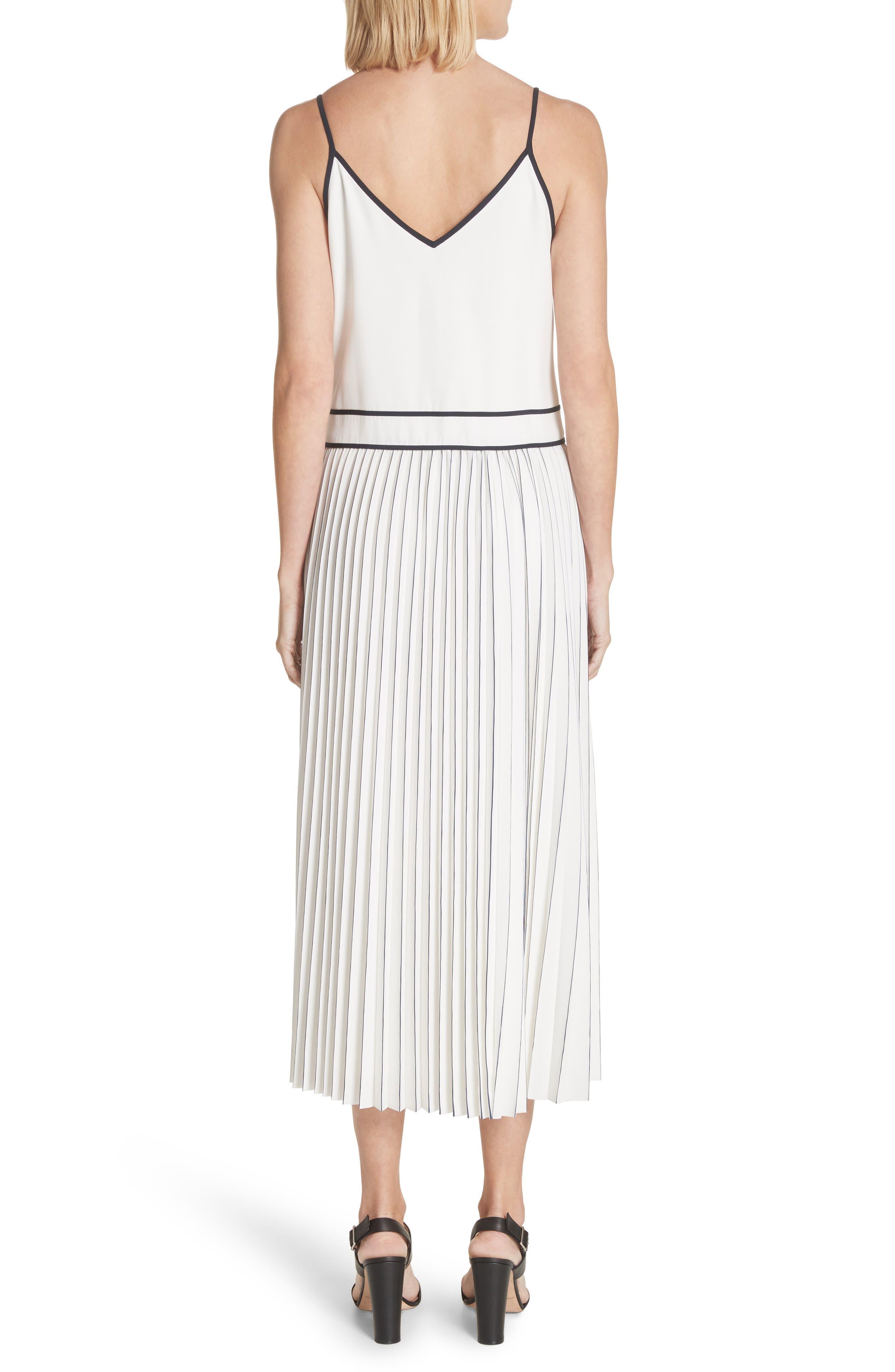 Silk Pleated Skirt Midi Dress,                             Alternate thumbnail 2, color,                             Cloud Multi