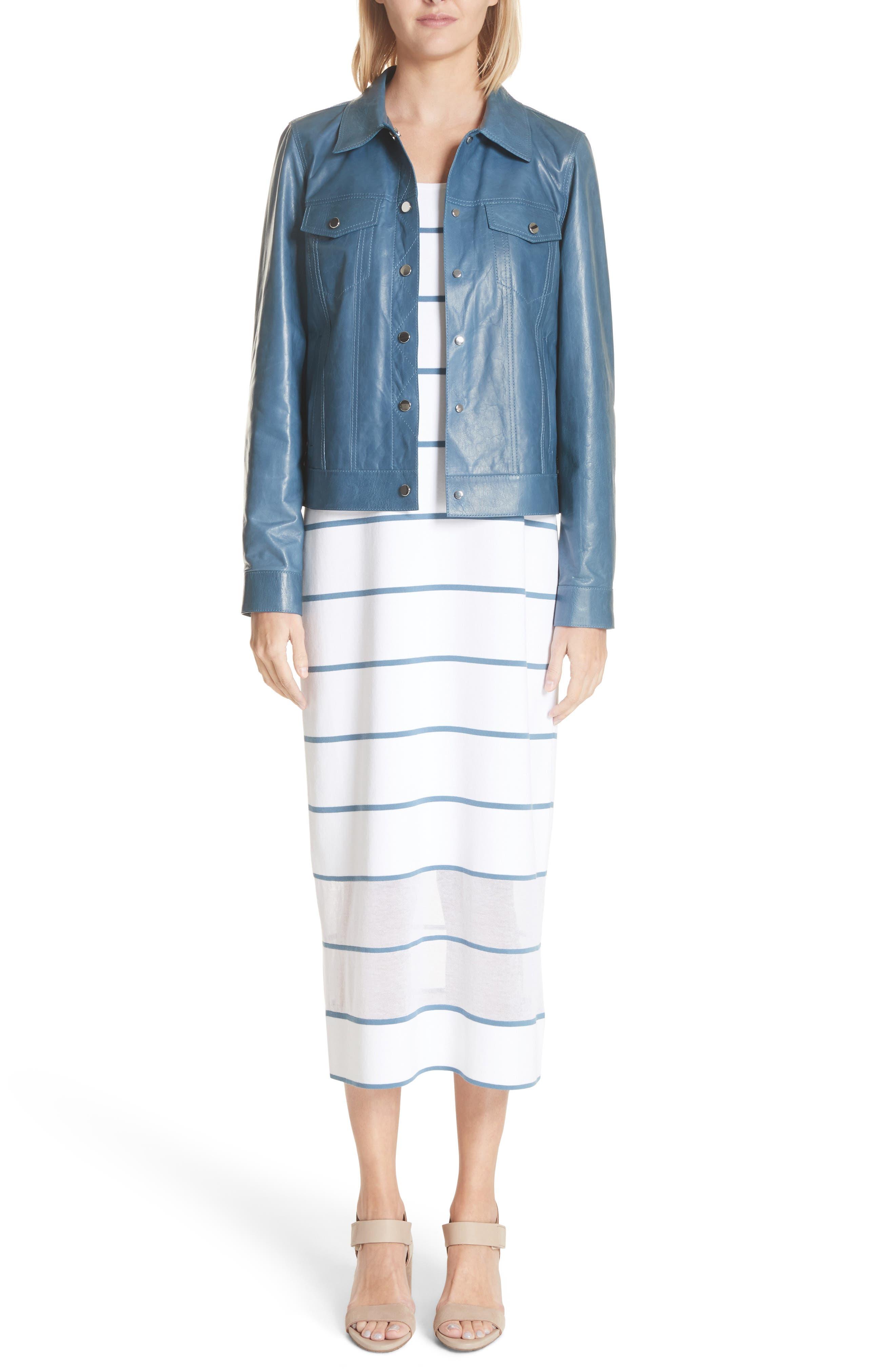 Stripe Sheer Hem Tank Dress,                             Alternate thumbnail 8, color,                             Placid Blue Multi