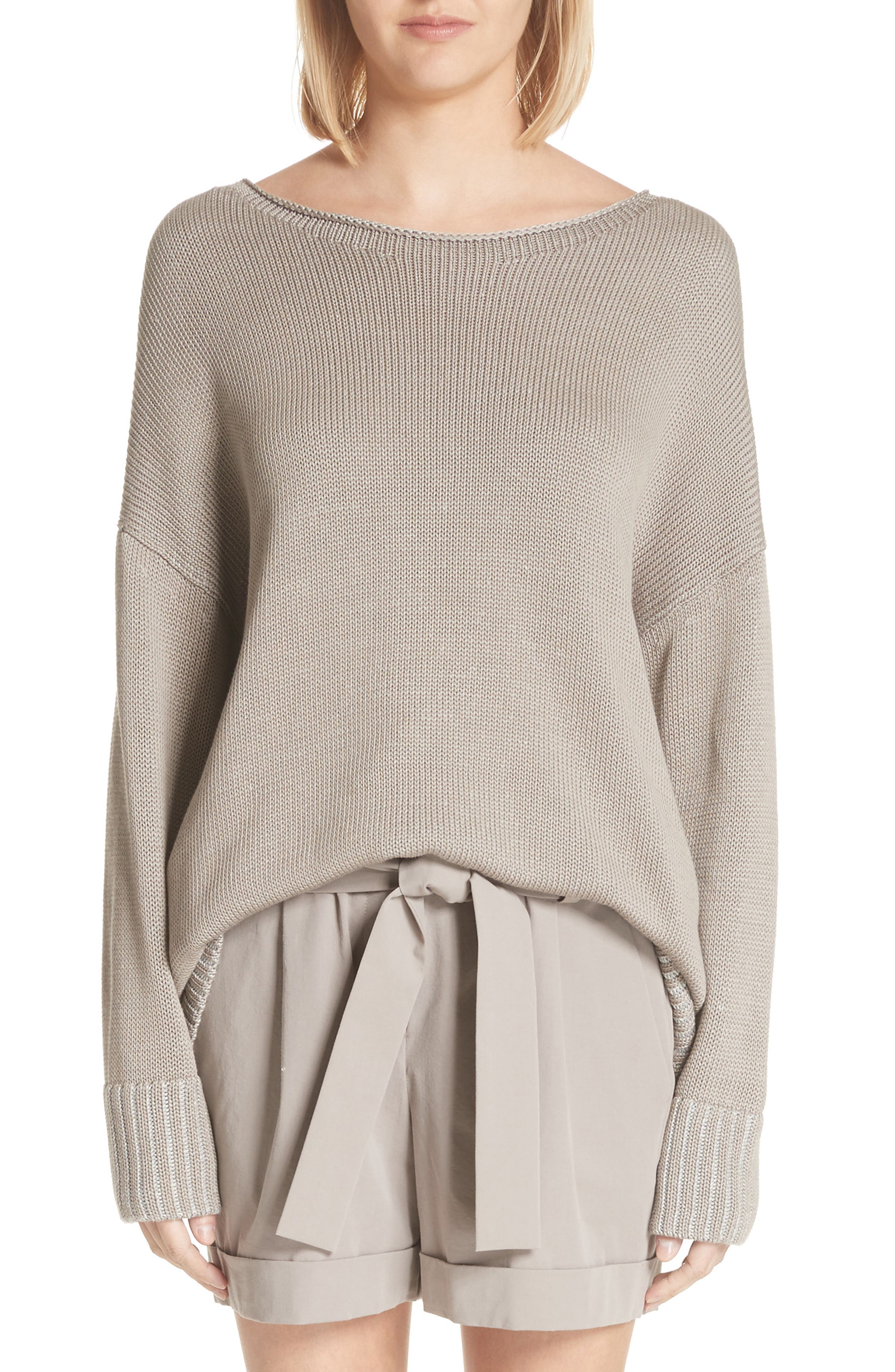 Lafayette 148 New York Vanisé Relaxed Cotton & Silk Sweater