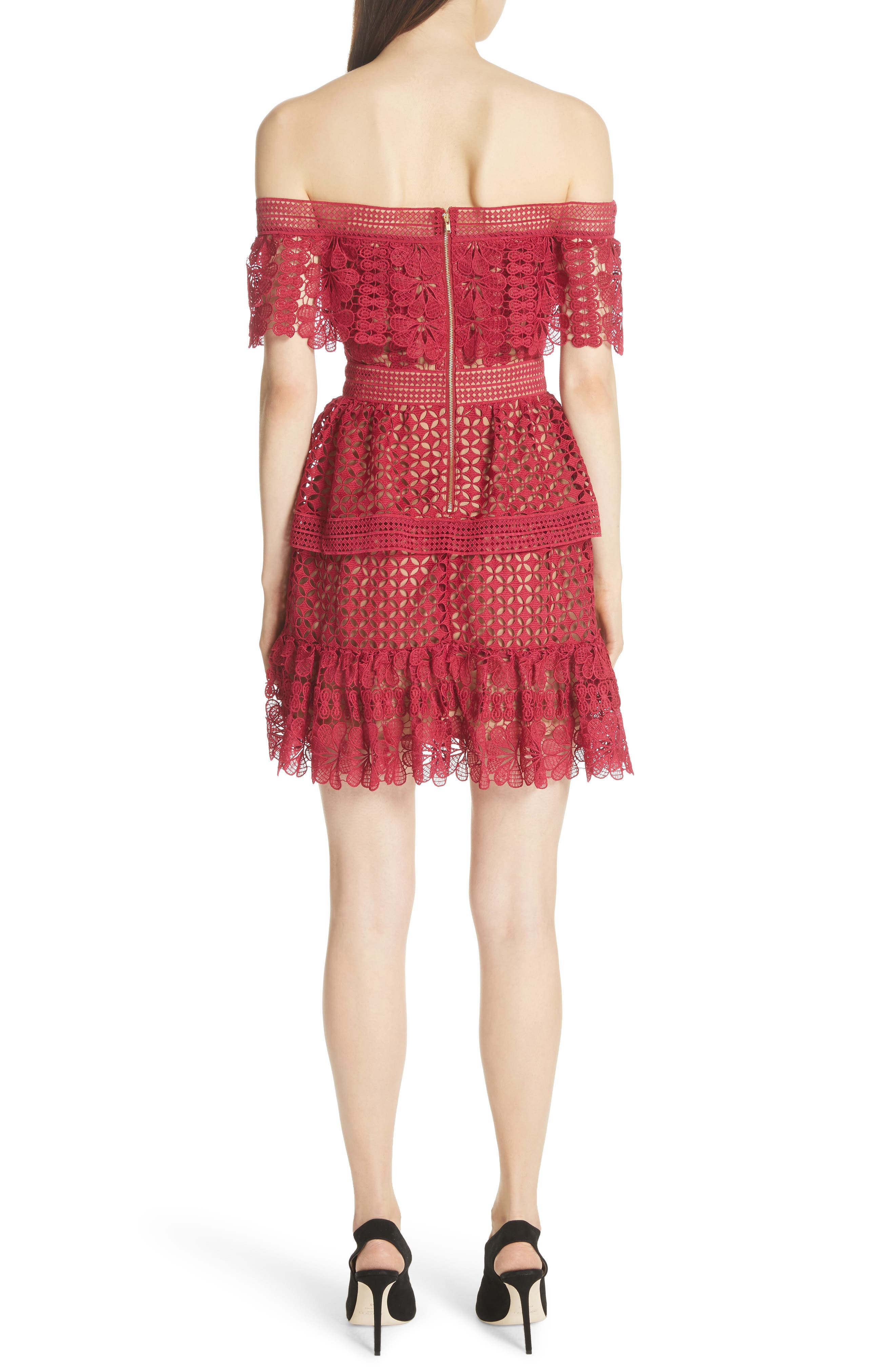 Off the Shoulder Guipure Lace Dress,                             Alternate thumbnail 2, color,                             Red