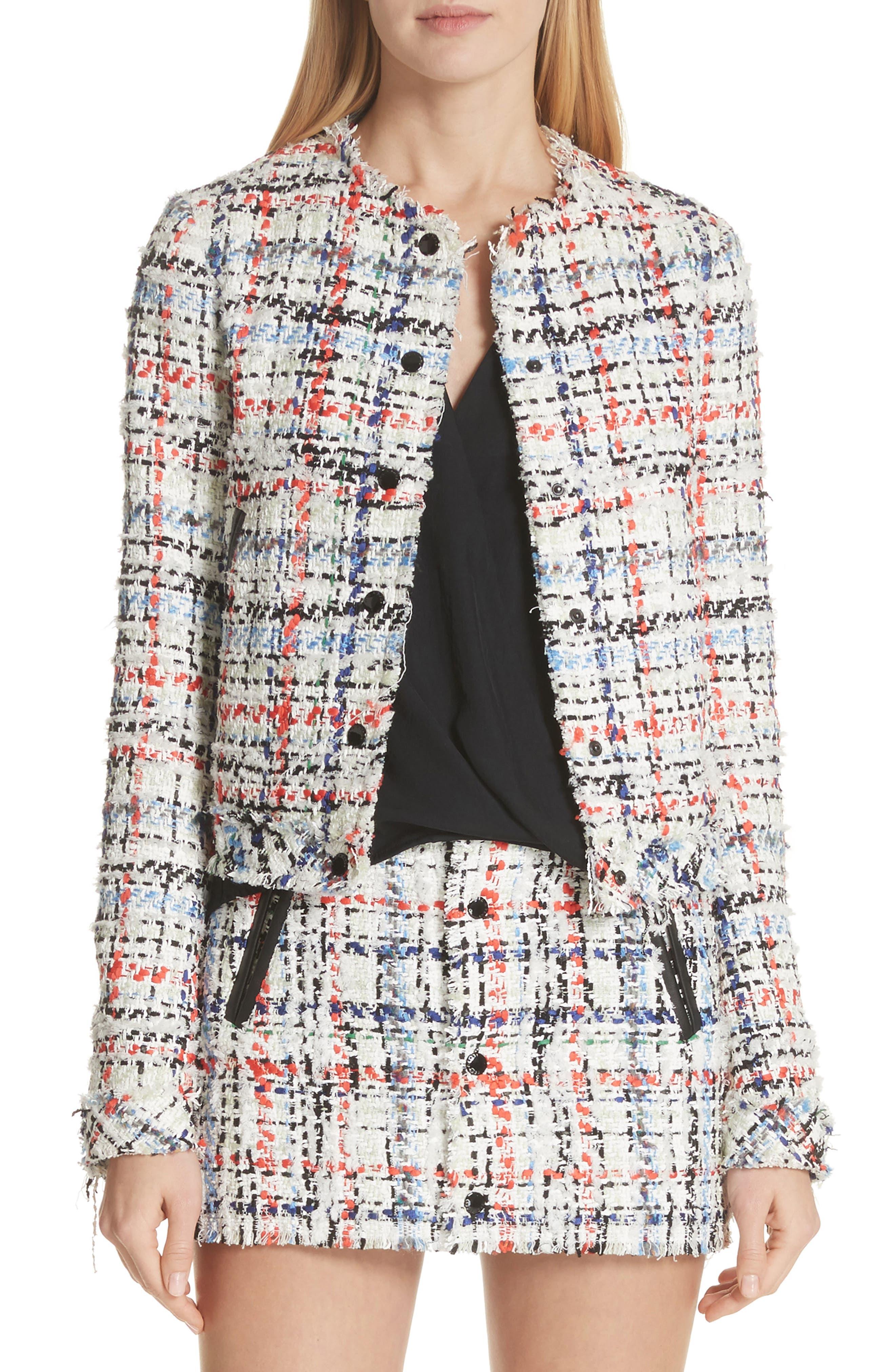 Otis Tweed Jacket,                         Main,                         color, White Combo
