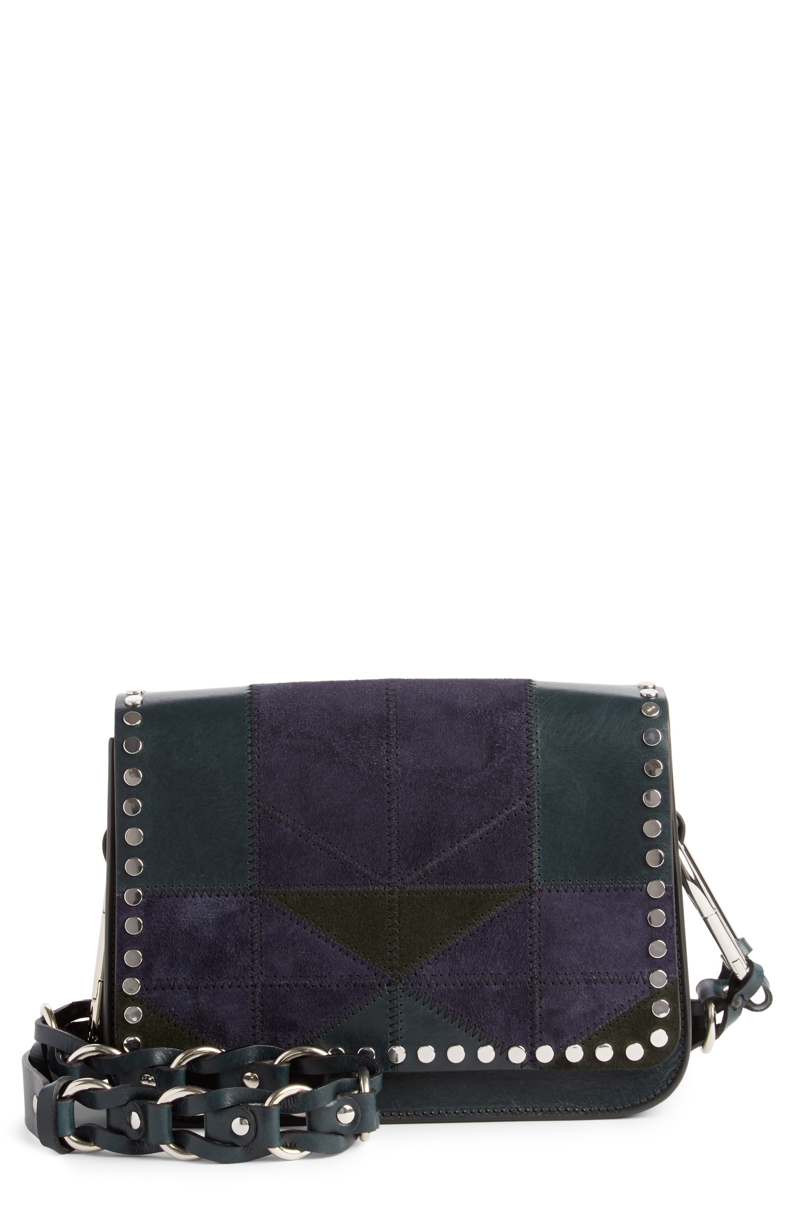 Calibar Patchwork Leather Crossbody Bag,                             Main thumbnail 1, color,                             Petrol
