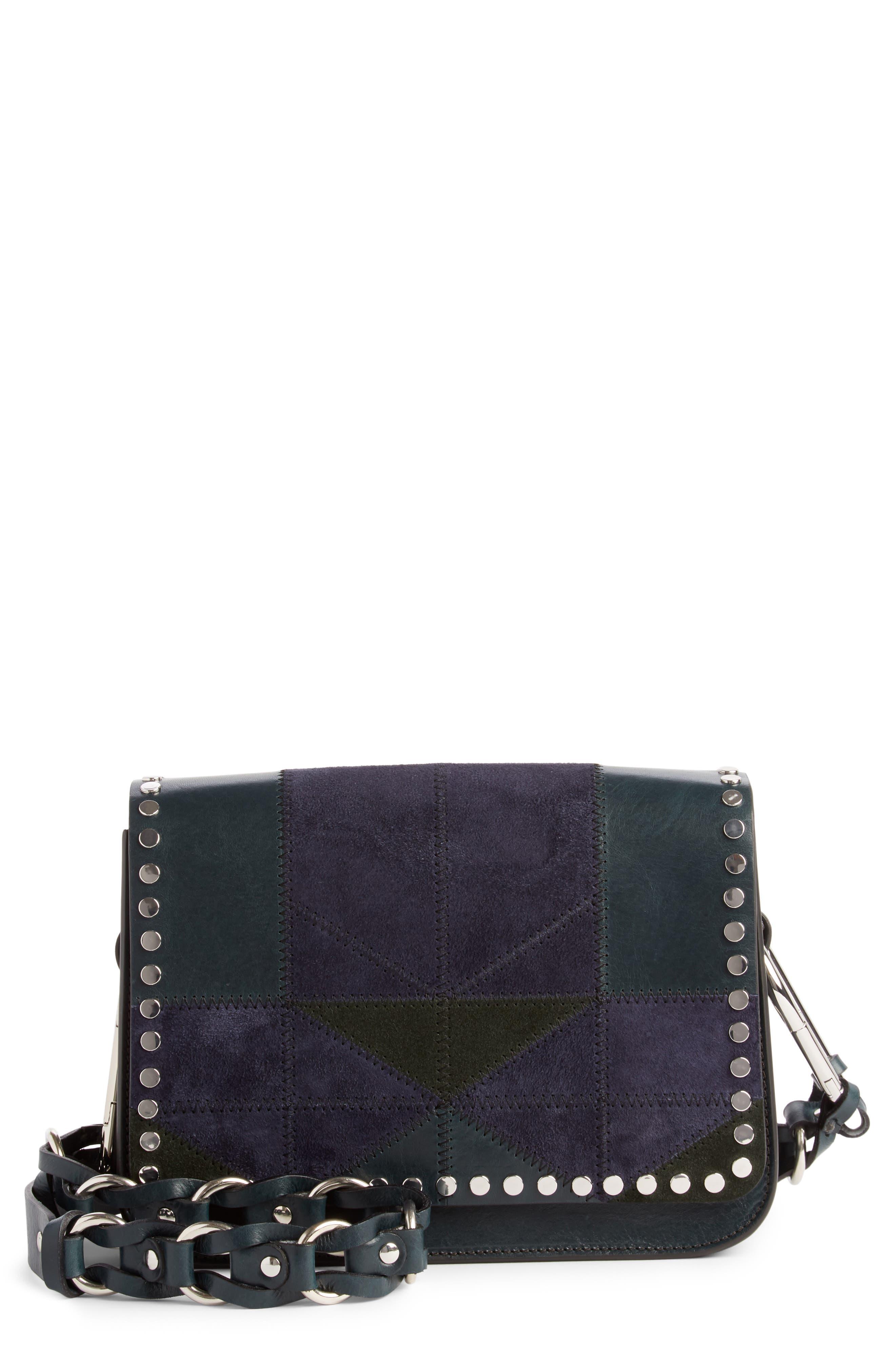 Calibar Patchwork Leather Crossbody Bag,                         Main,                         color, Petrol