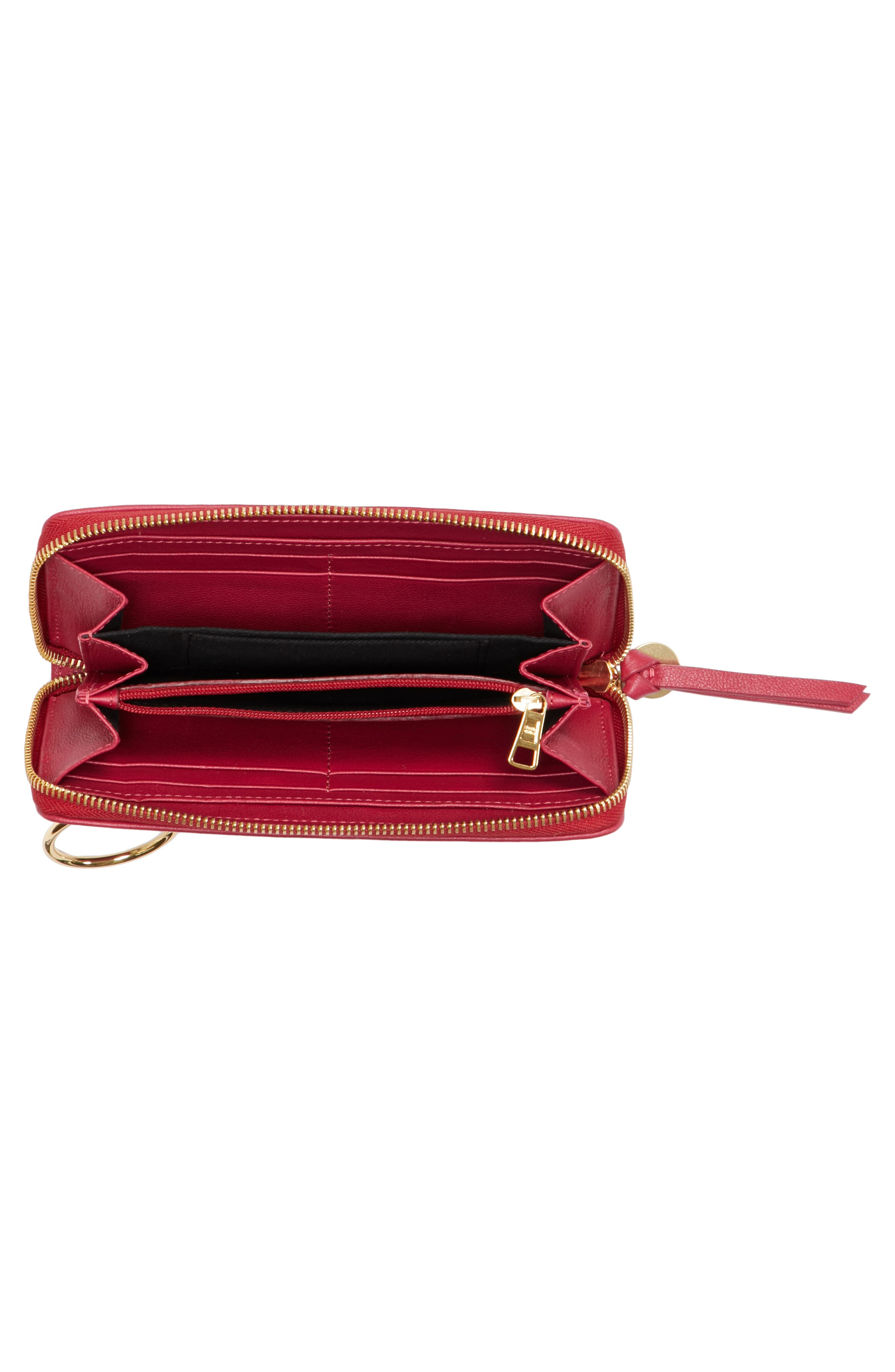 Mino Zip Around Leather Wallet,                             Alternate thumbnail 2, color,                             Berry Pink