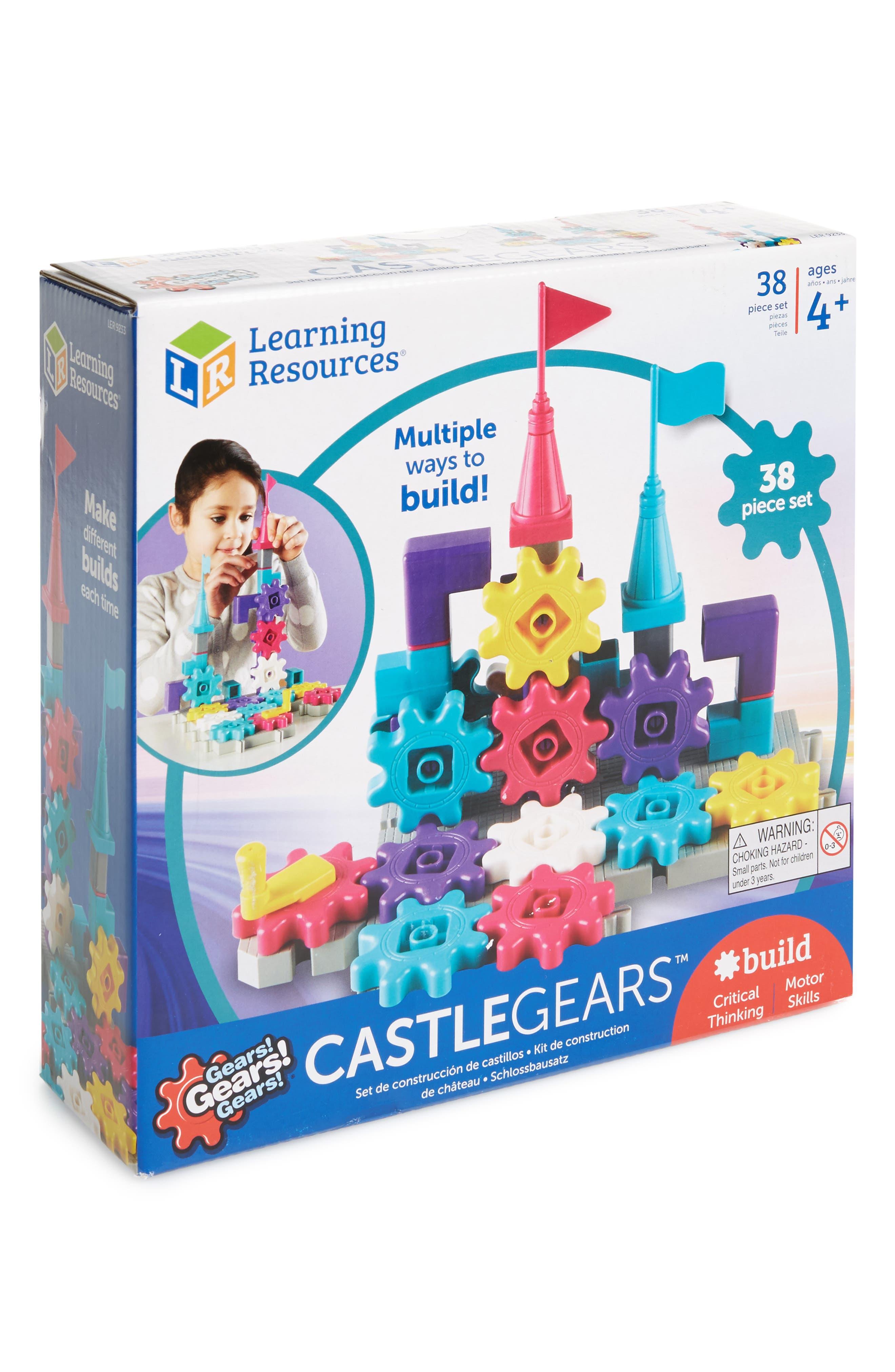 38-Piece Castle Gears Building Set,                             Main thumbnail 1, color,                             Pink