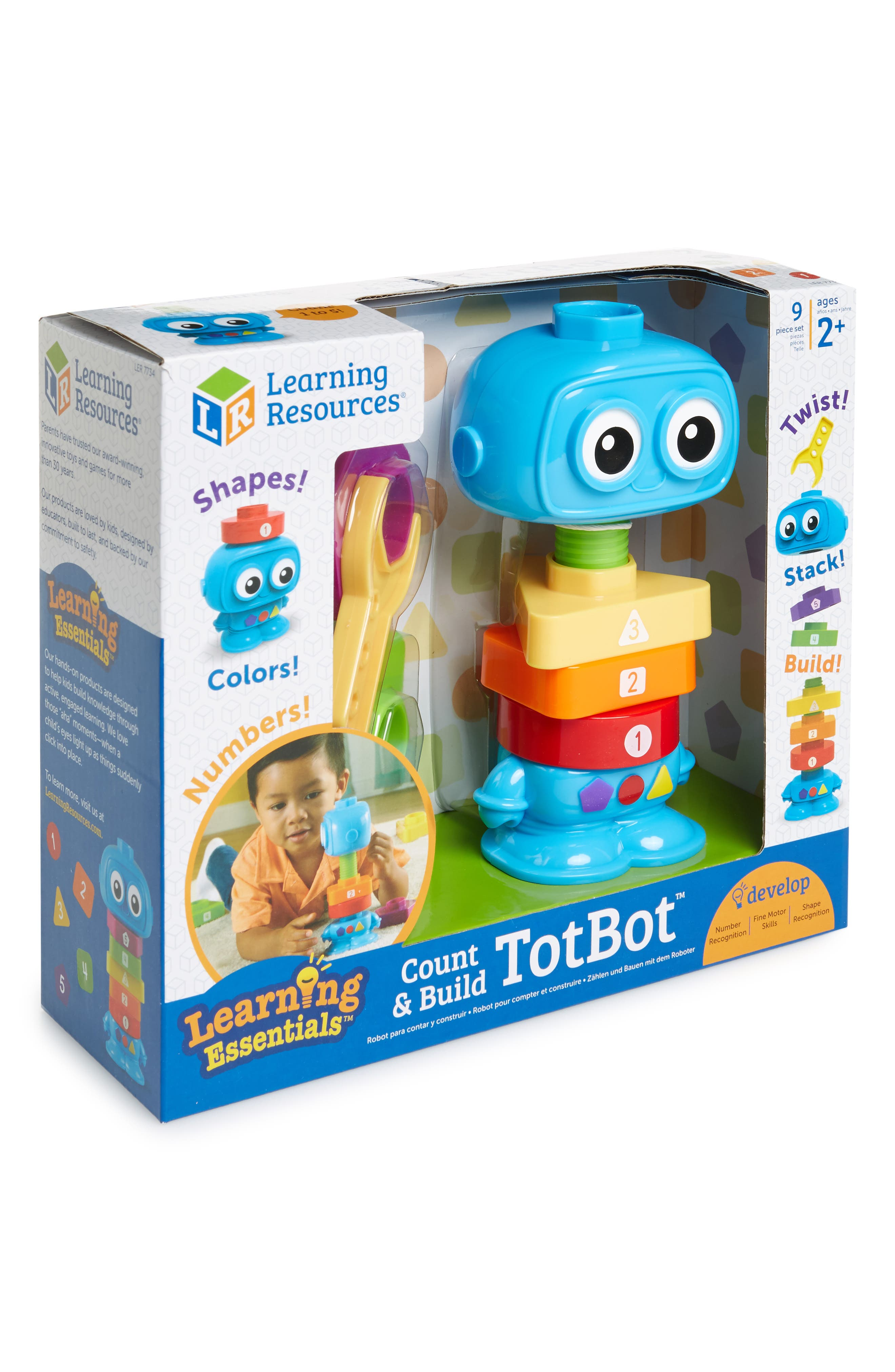 9-Piece Count & Build TotBot Toy,                         Main,                         color, Turquoise