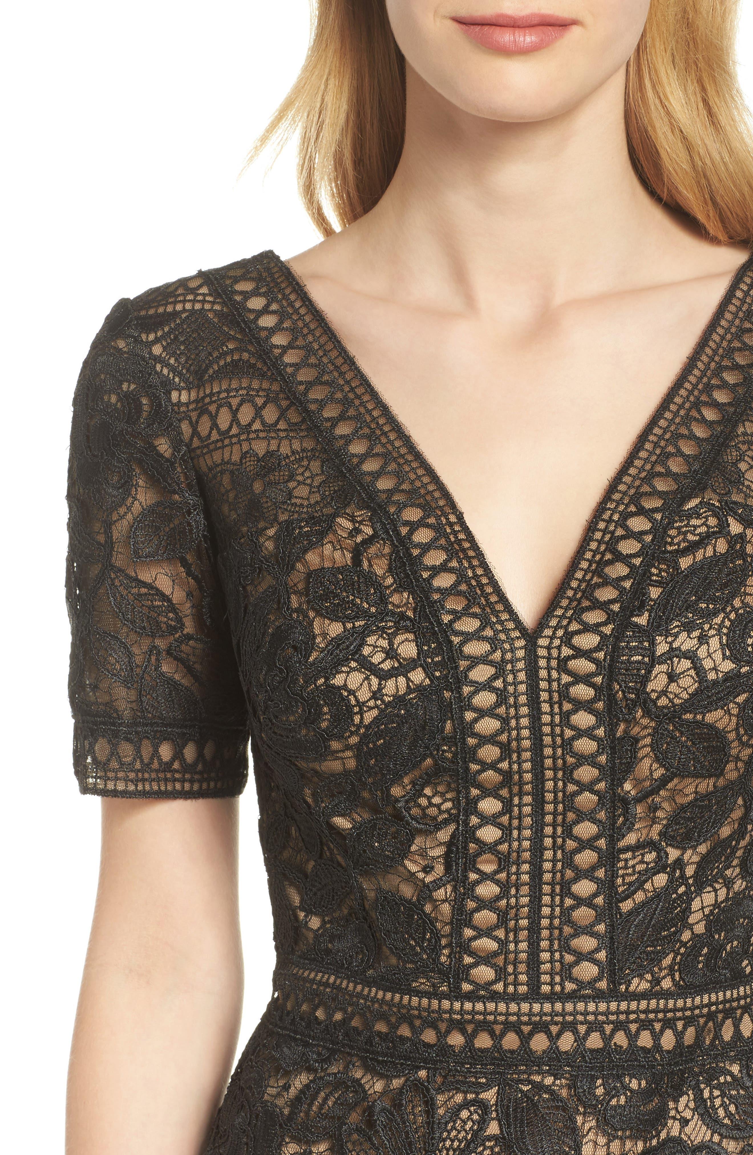 V-Neck Lace Sheath Dress,                             Alternate thumbnail 4, color,                             Black/ Nude