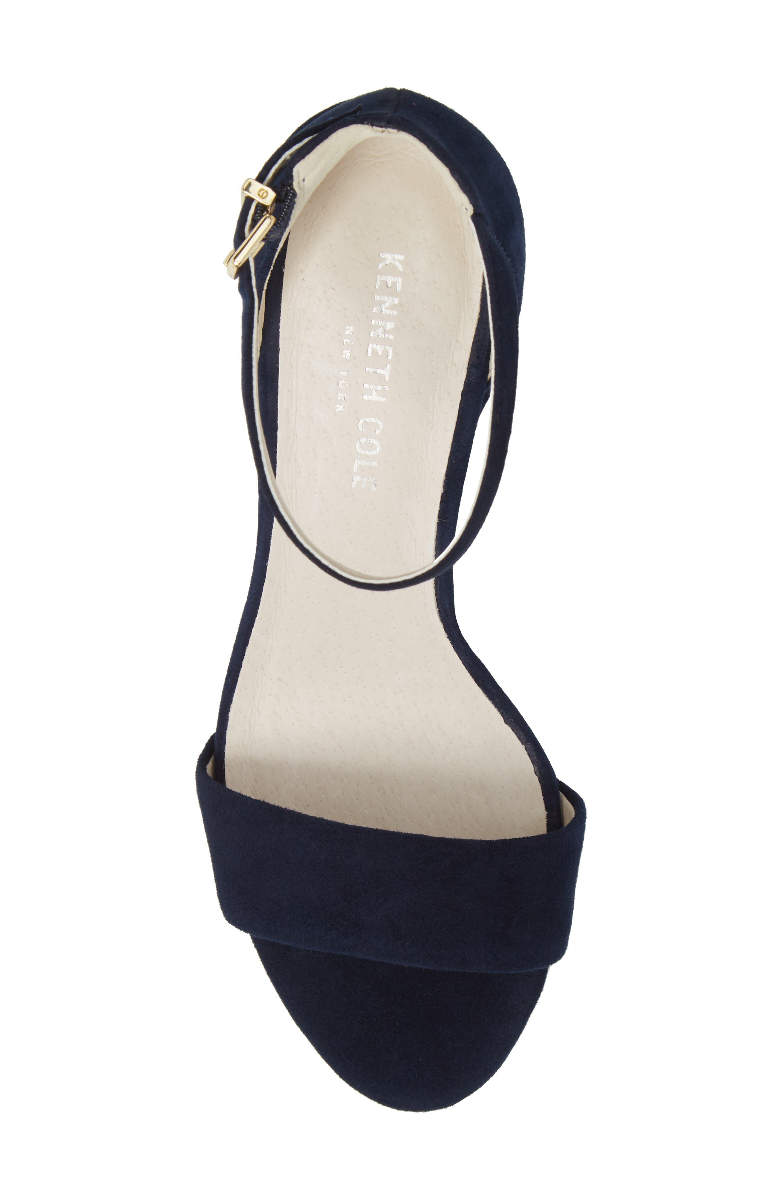 Hannon Block Heel Ankle Strap Sandal,                             Alternate thumbnail 5, color,                             Navy Suede