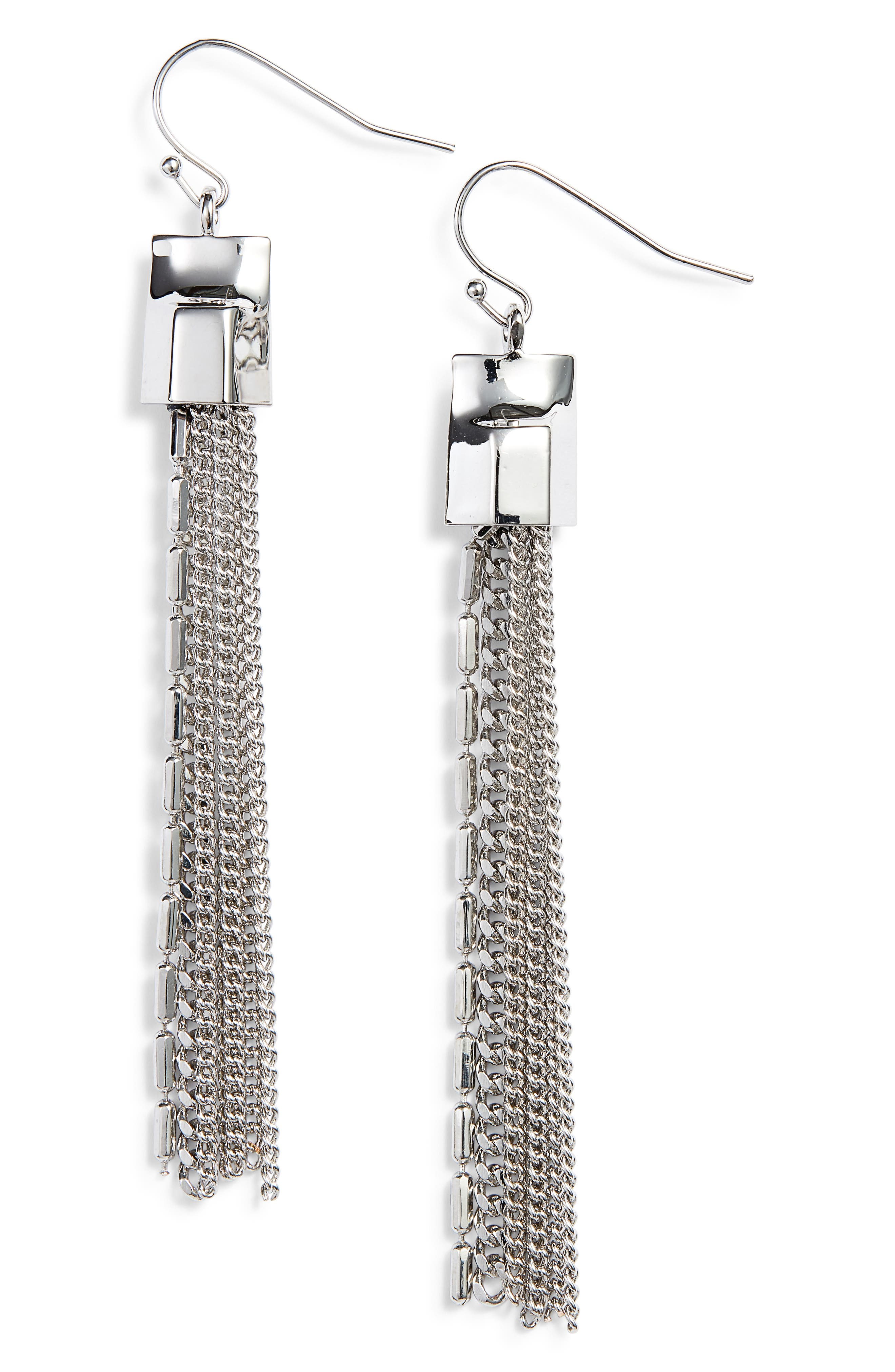 Mix Chain Tassel Drop Earrings,                         Main,                         color, Silver