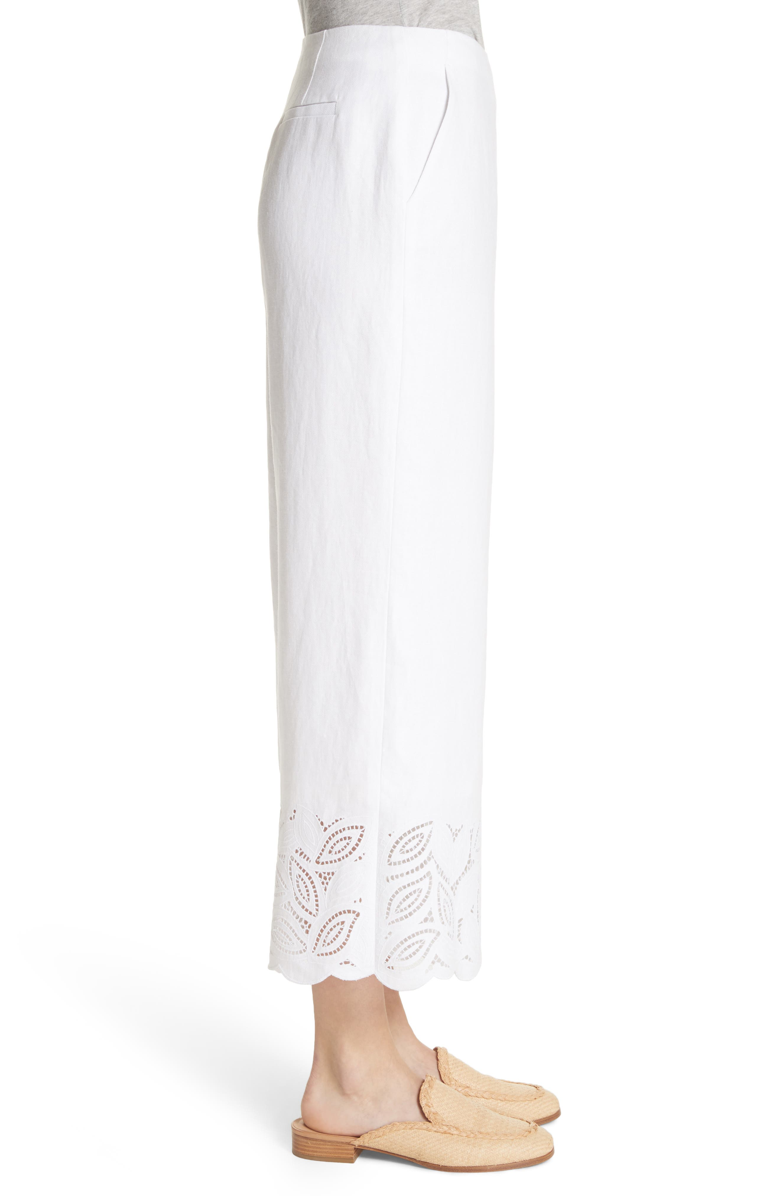 Morton Embroidered Pants,                             Alternate thumbnail 3, color,                             White