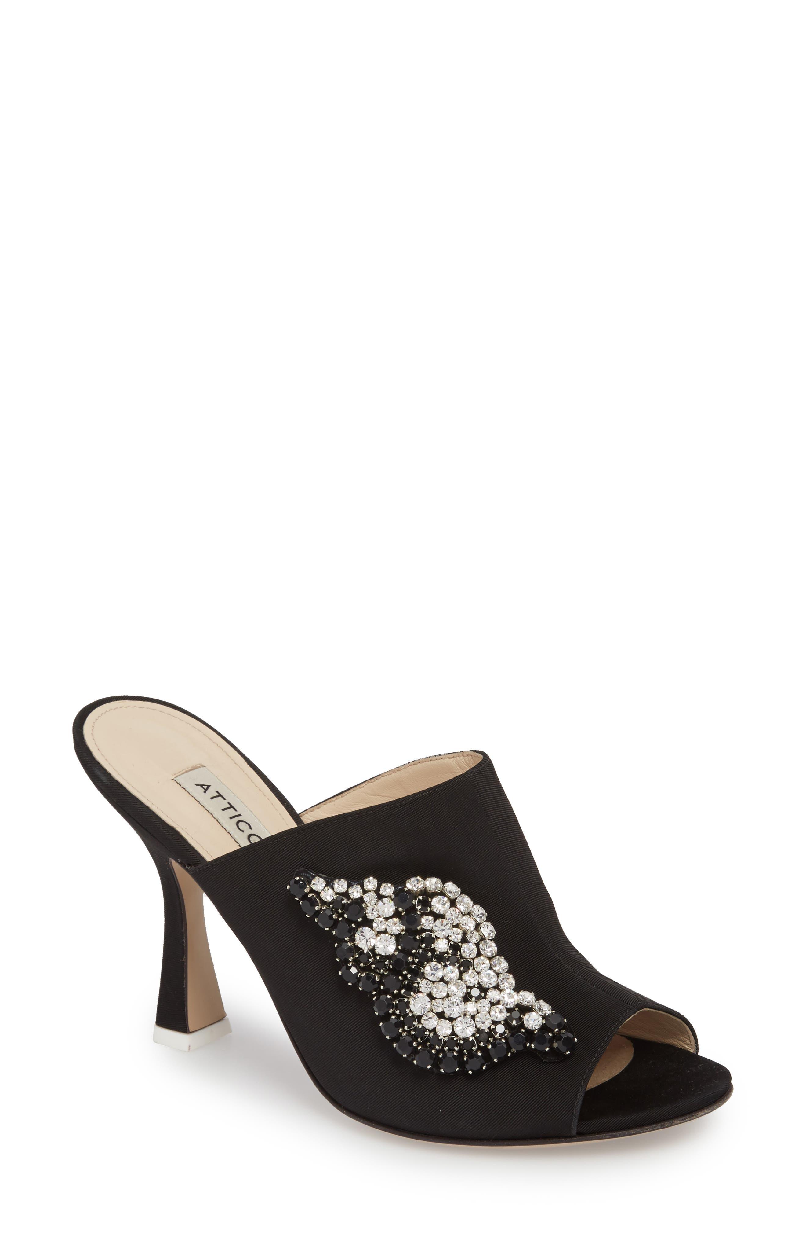 Pamela Open Toe Mule,                         Main,                         color, Black/ Silver