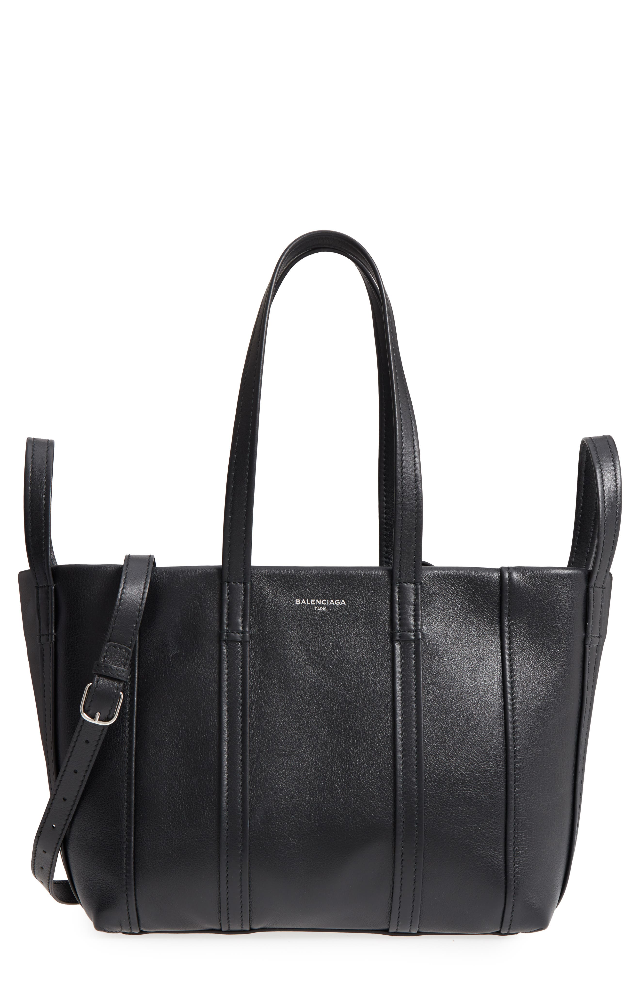 Small Laundry Calfskin Tote,                         Main,                         color, Noir
