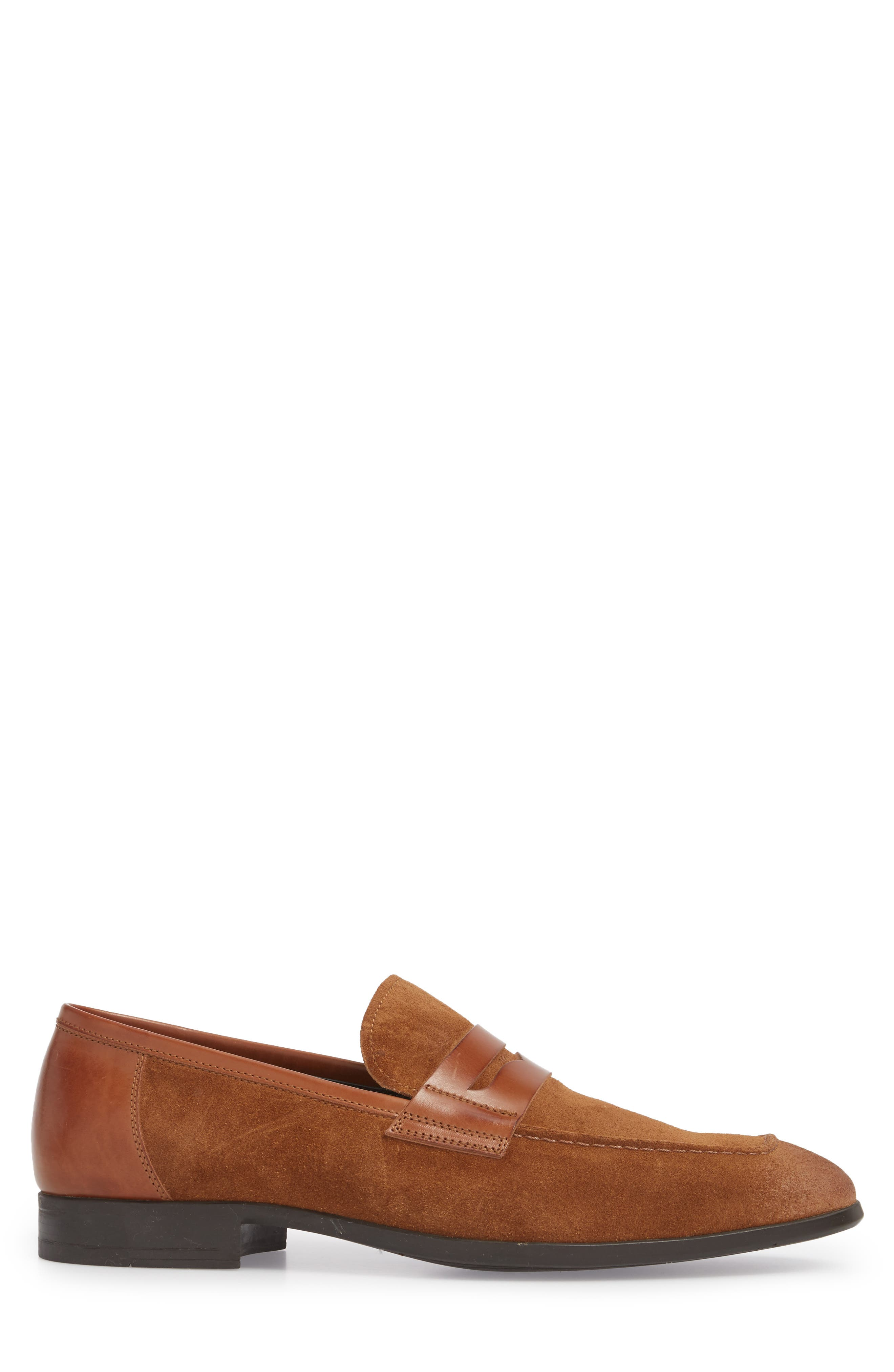 Powell Penny Loafer,                             Alternate thumbnail 3, color,                             Cognac/ Tan Suede