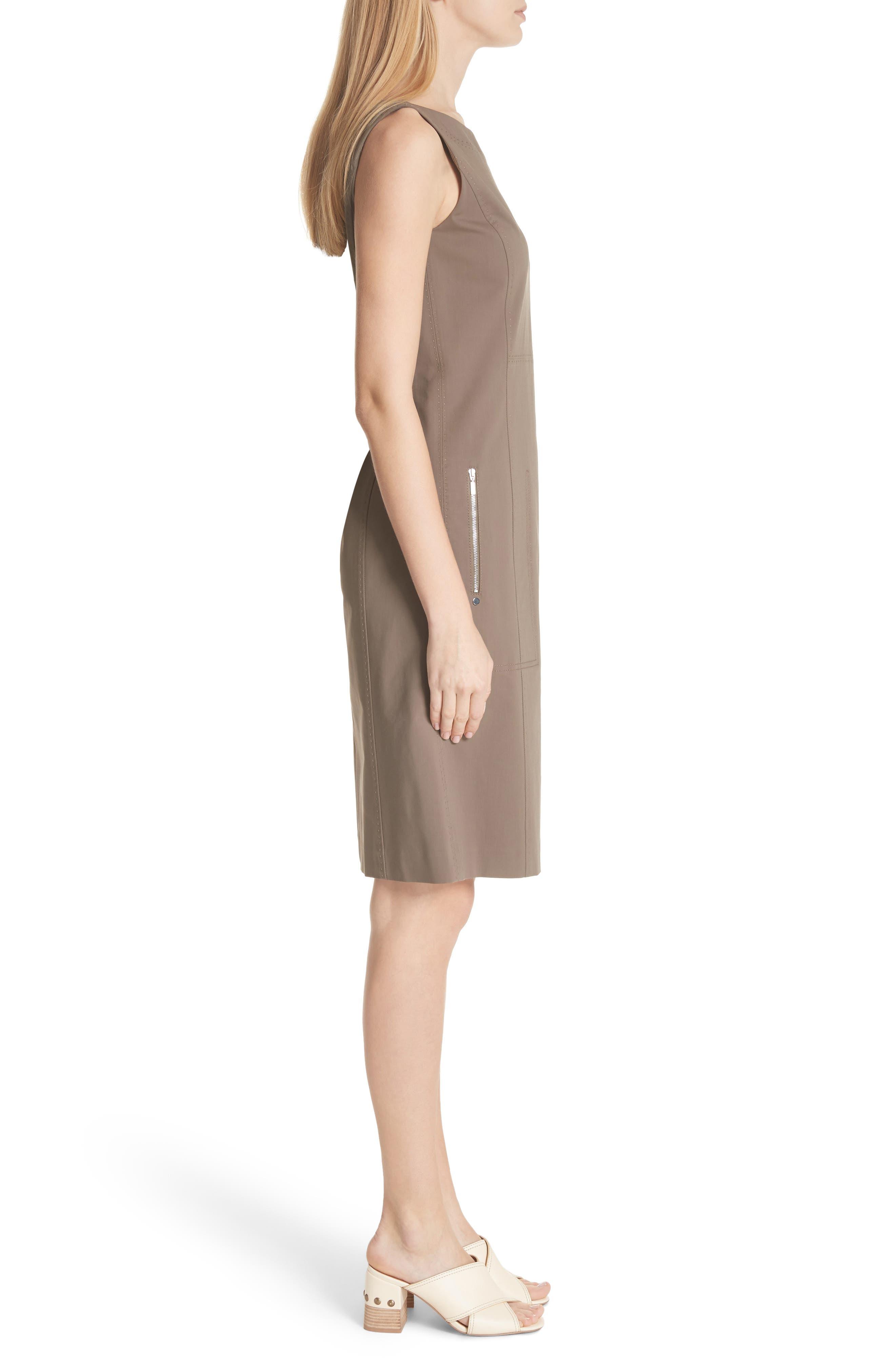Paxton Sleeveless Sheath Dress,                             Alternate thumbnail 3, color,                             Nougat