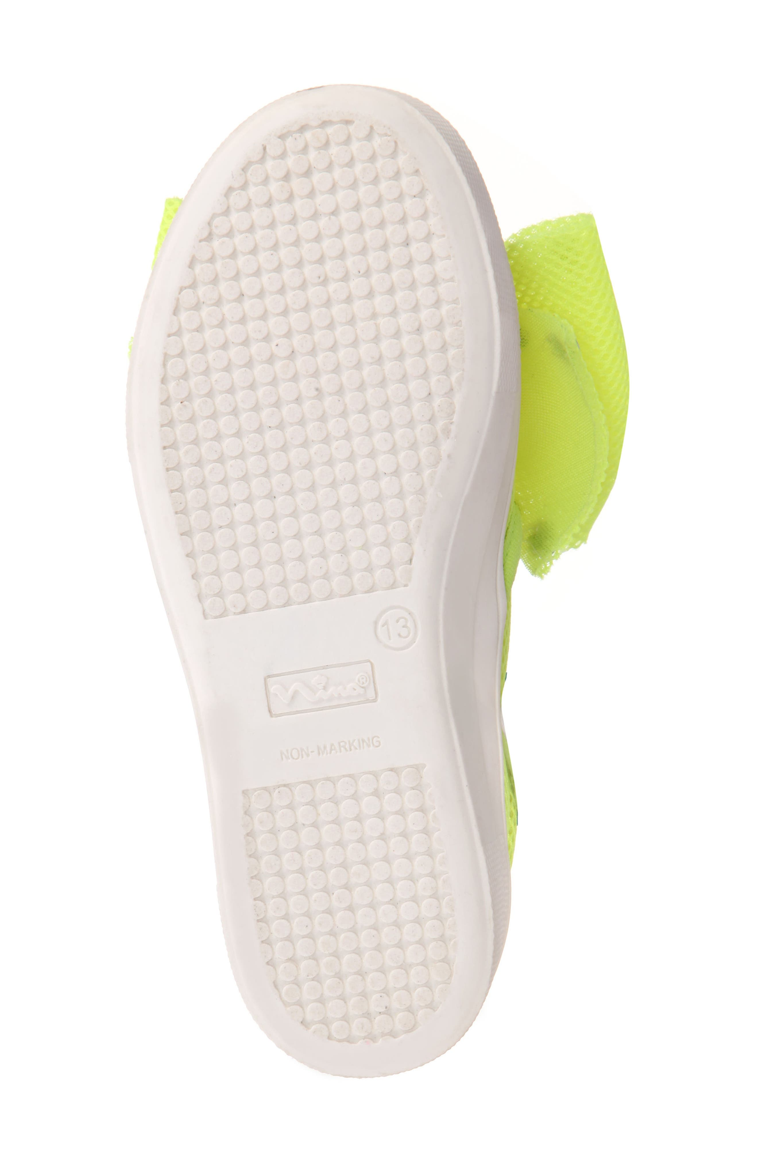 Mary Bow Slip-On Sneaker,                             Alternate thumbnail 6, color,                             Neon Yellow Mesh