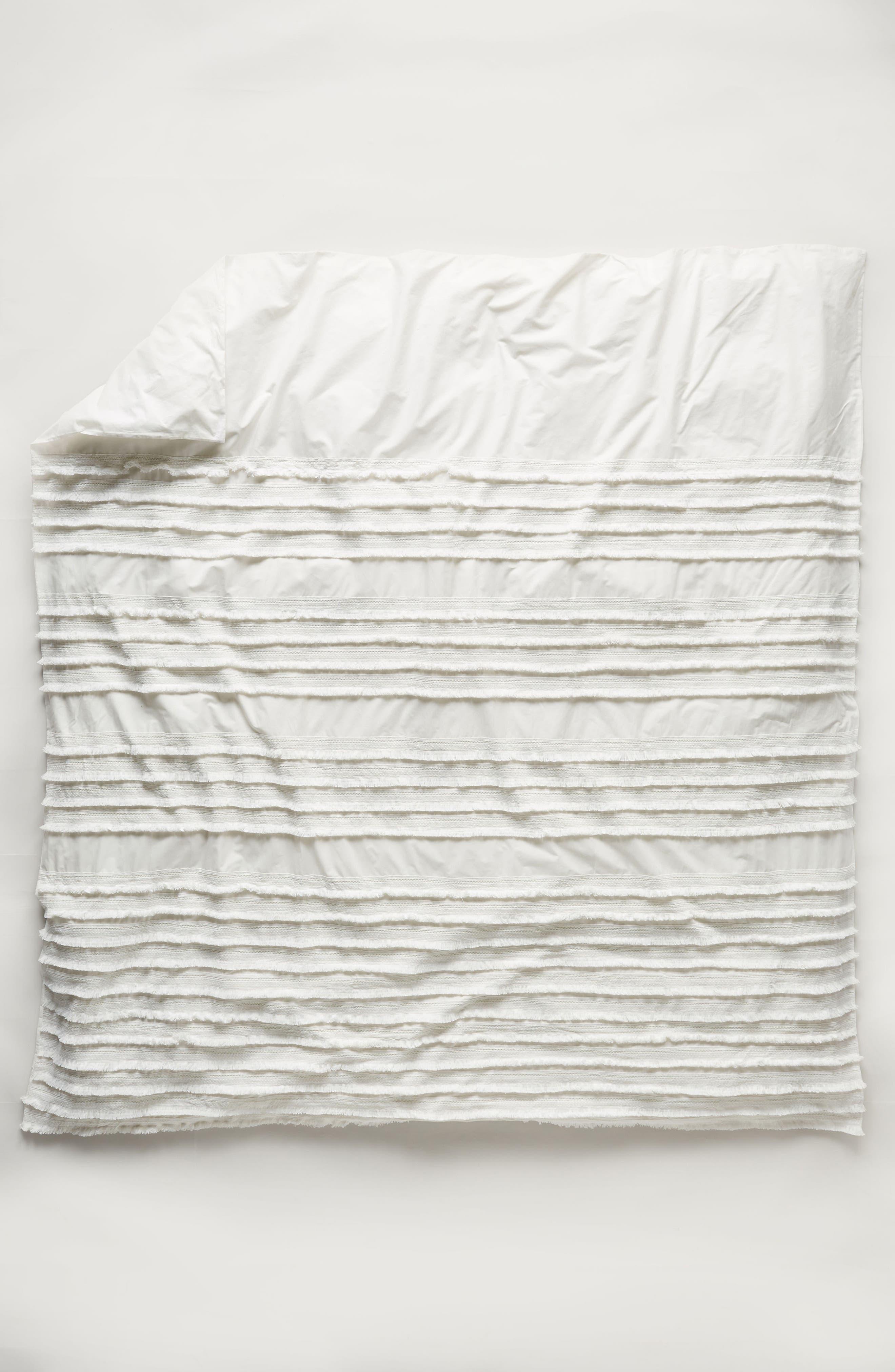 Fringe Duvet Cover,                             Alternate thumbnail 3, color,                             White