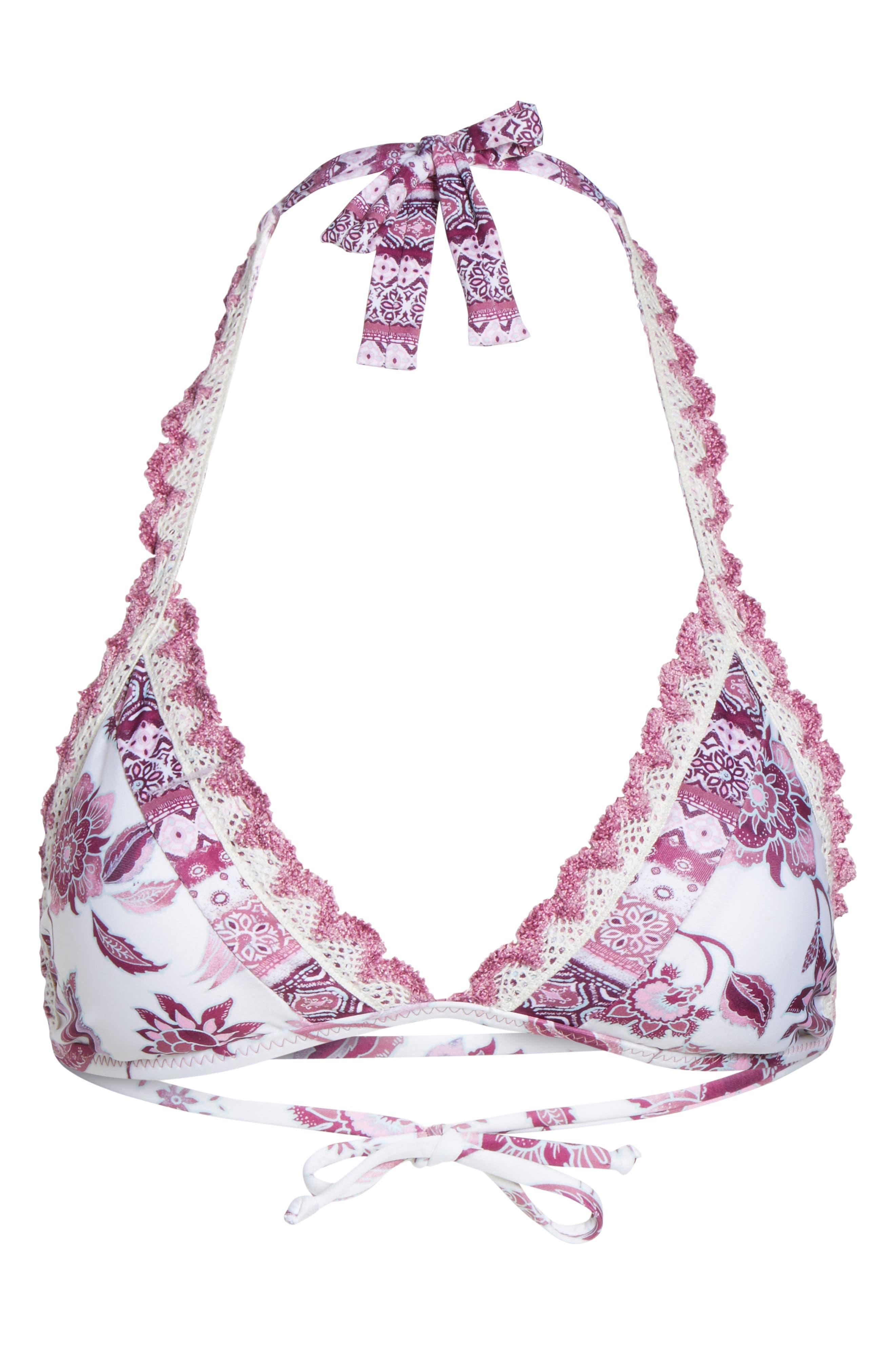 Tahiti Halter Bikini Top,                             Alternate thumbnail 9, color,                             White/ Pink Multi
