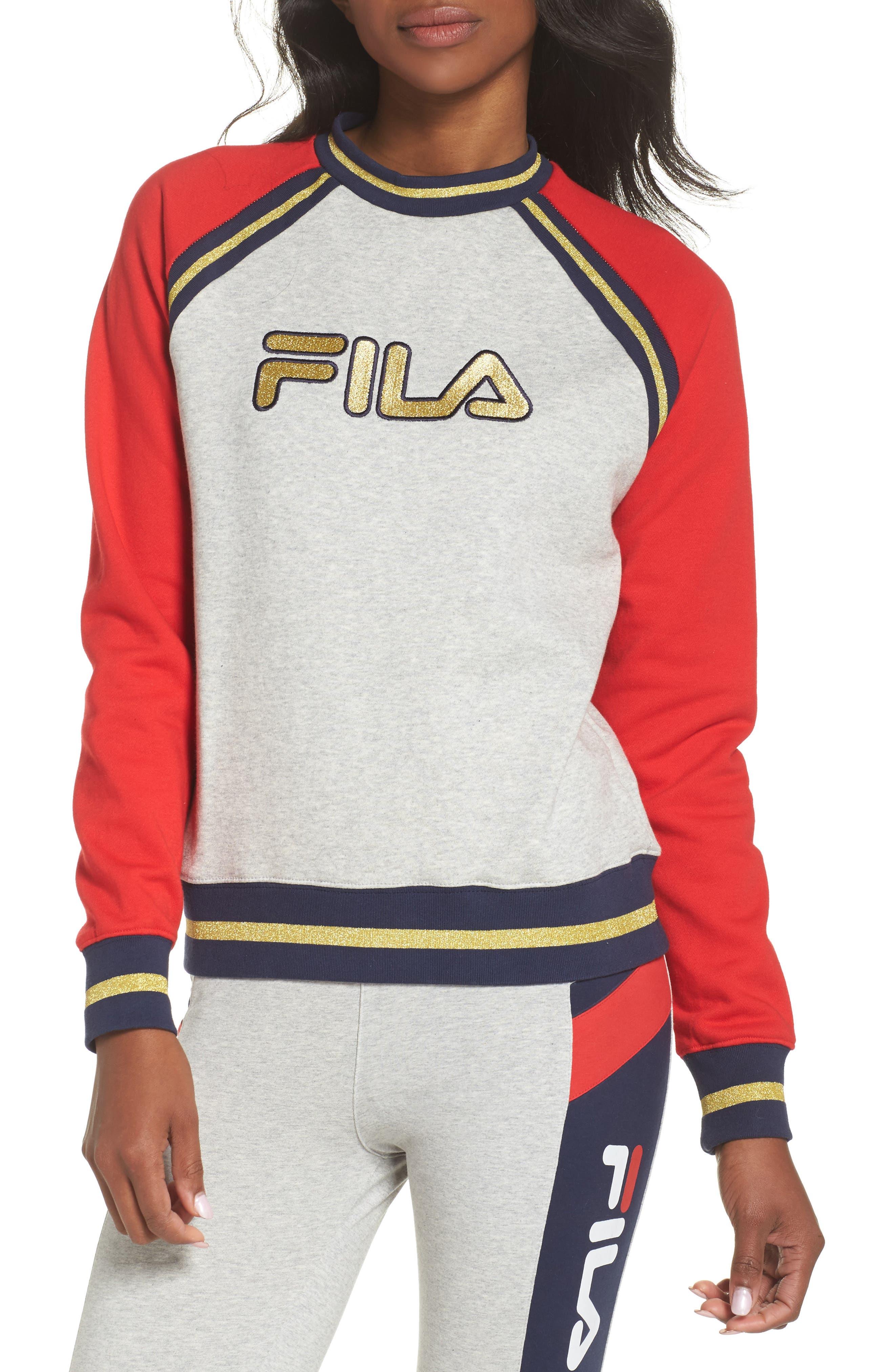 Rafaella Sweatshirt,                         Main,                         color, Light Grey / Peacoat/ Red