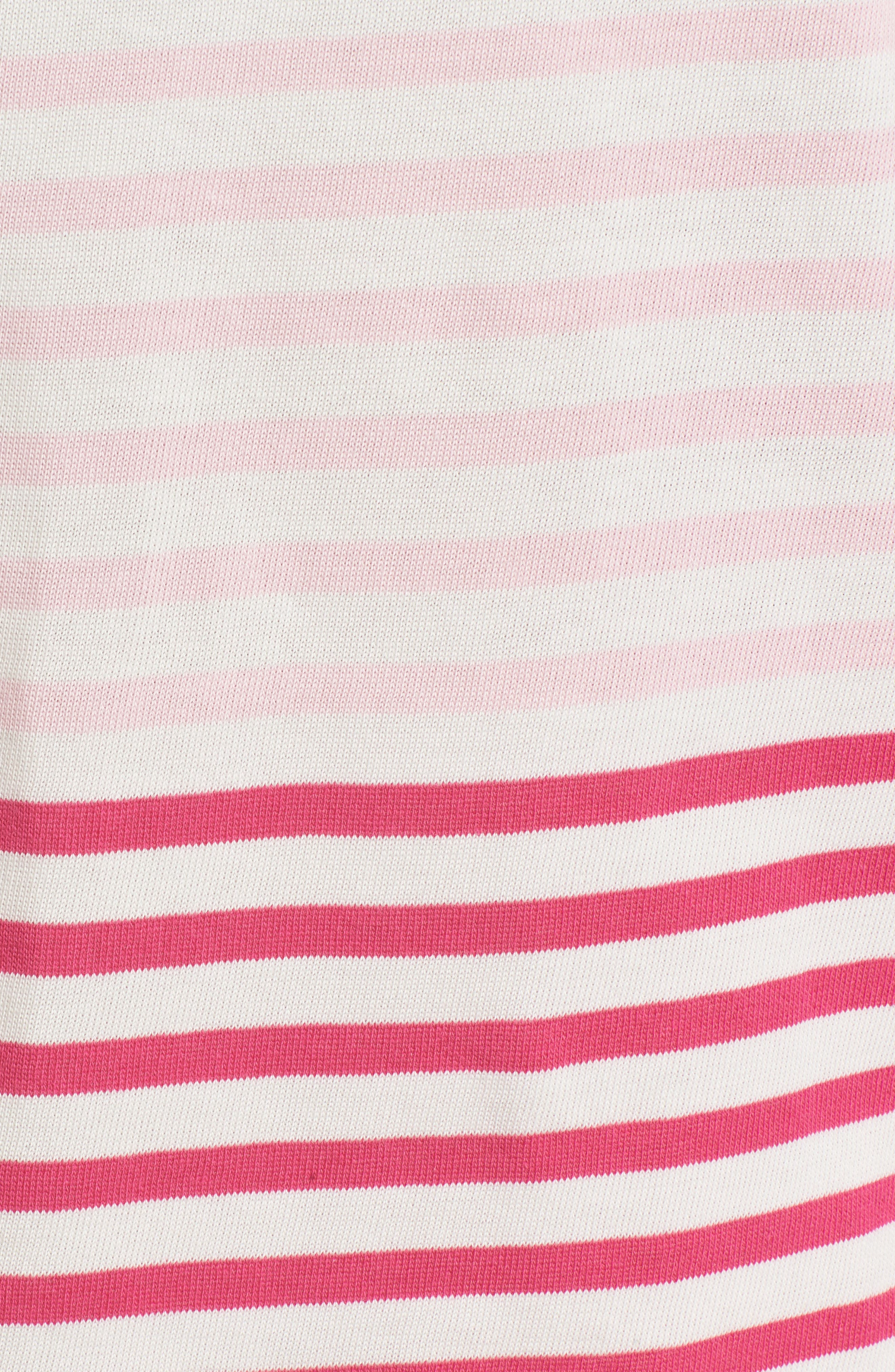 Mixed Stripe Pocket Cotton Knit Top,                             Alternate thumbnail 6, color,                             Rhododendron