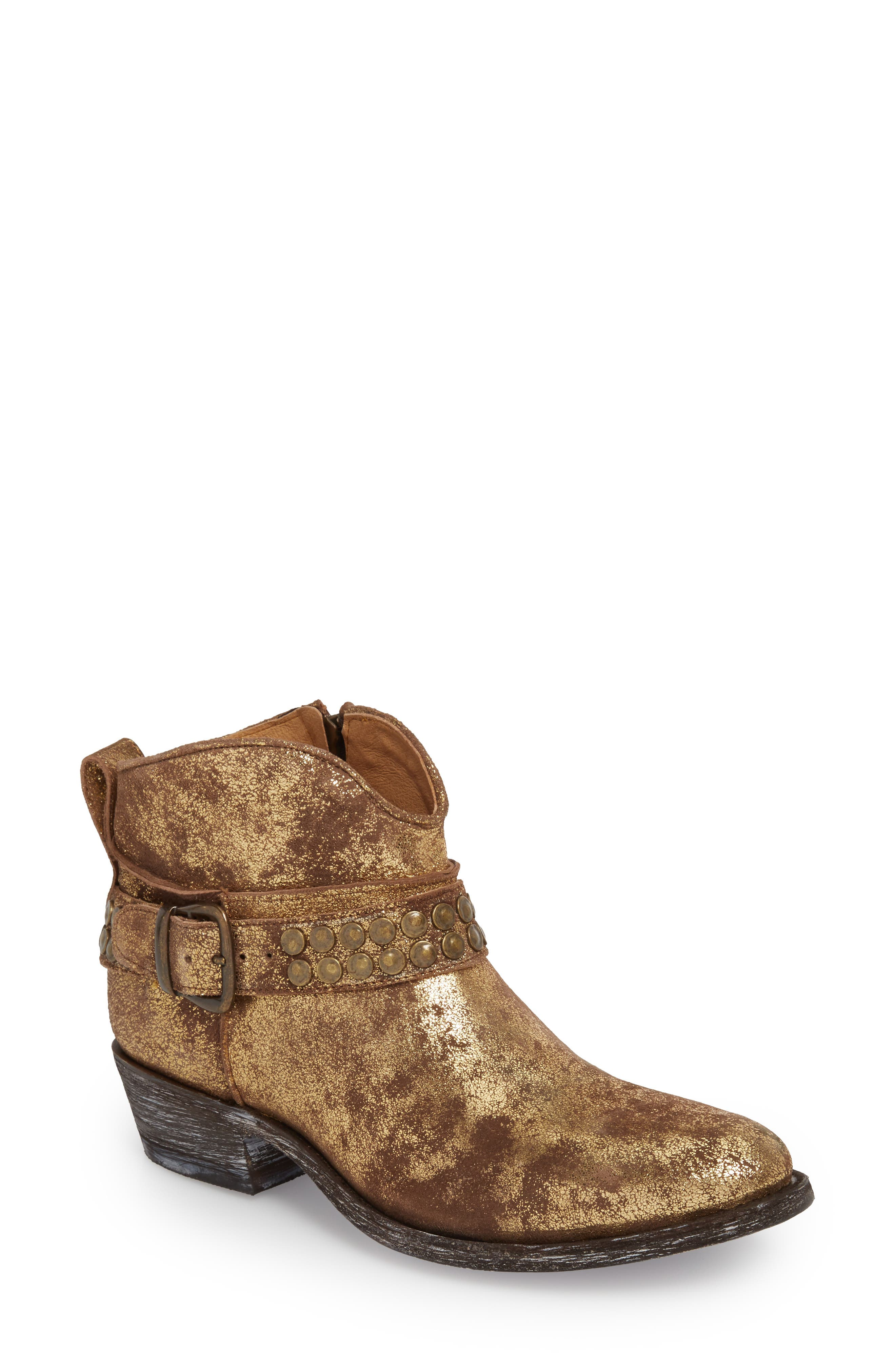 Serene Bootie,                             Main thumbnail 1, color,                             Gold Suede