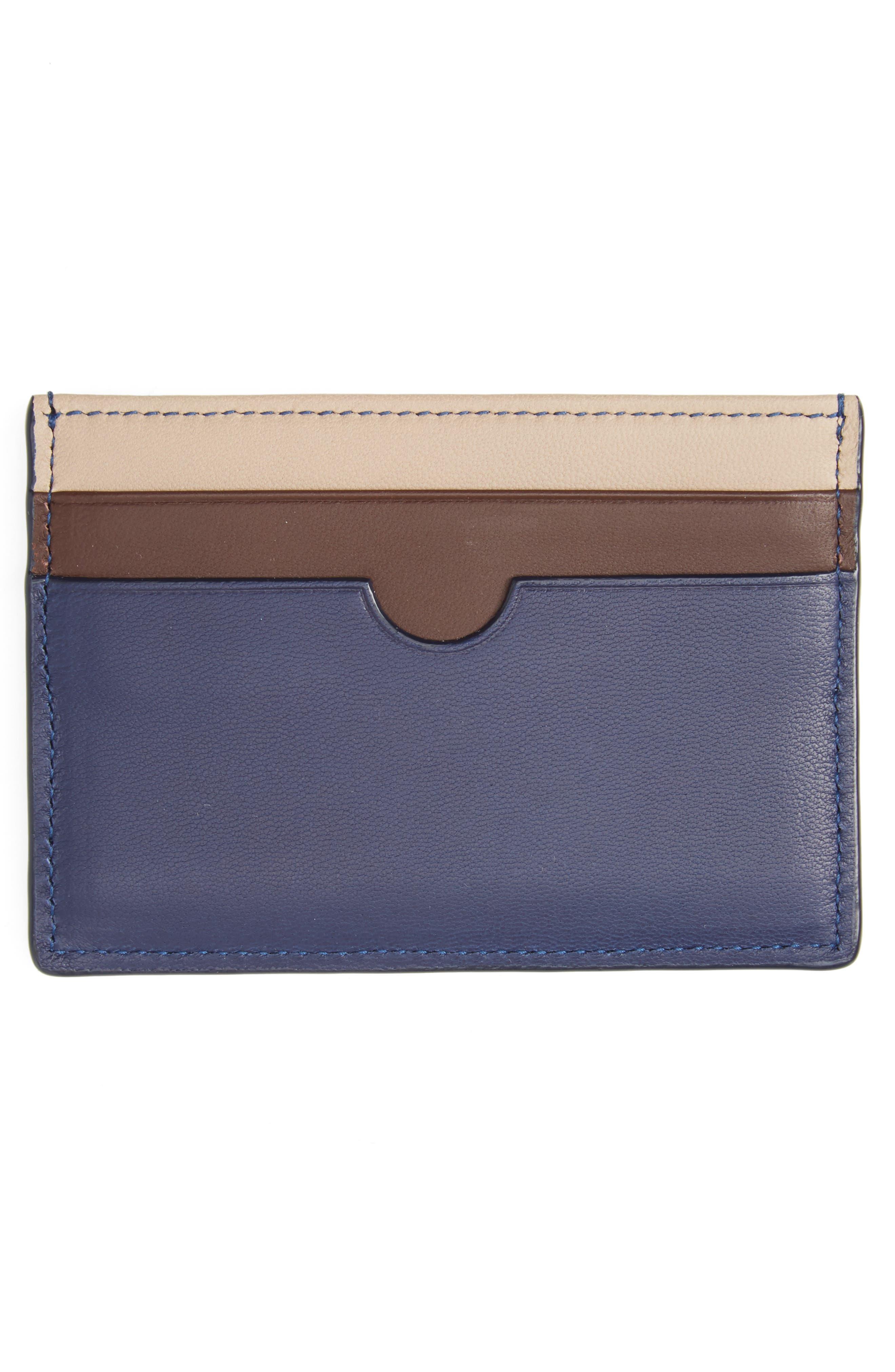 Tricolor Leather Card Case,                             Alternate thumbnail 2, color,                             Blue