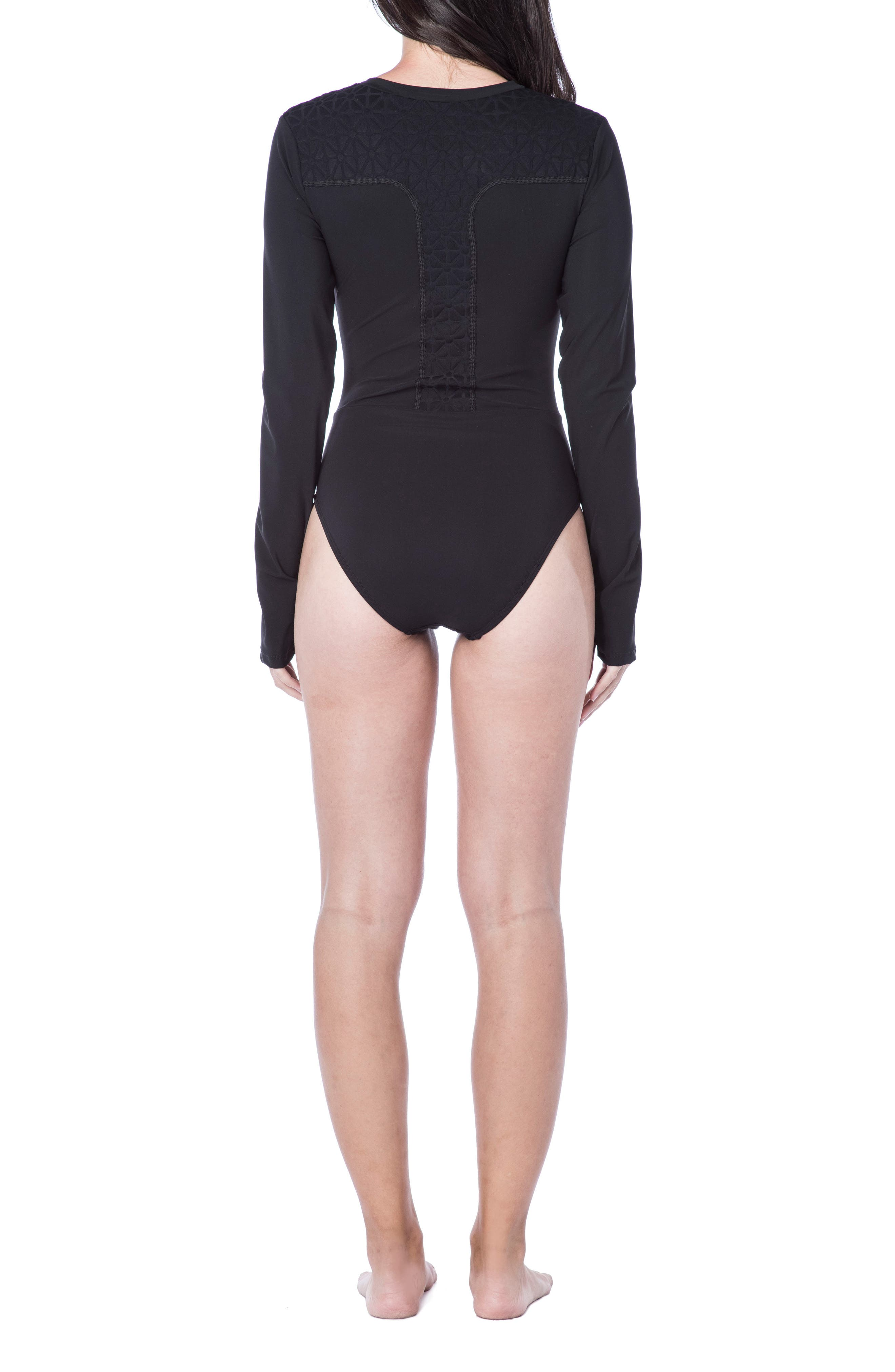 Alternate Image 2  - Trina Turk Sunshine Jacquard One-Piece Paddle Suit