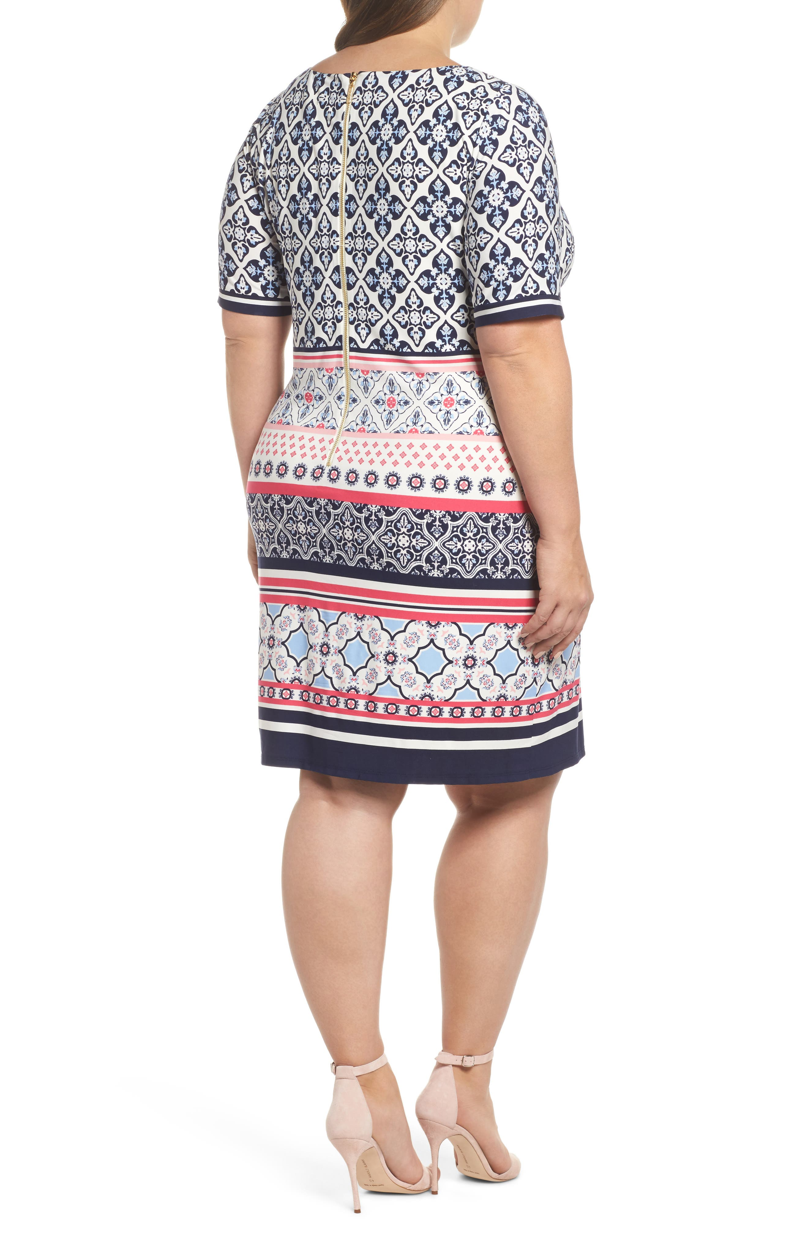 Alternate Image 2  - Eliza J Print Shift Dress (Plus Size)