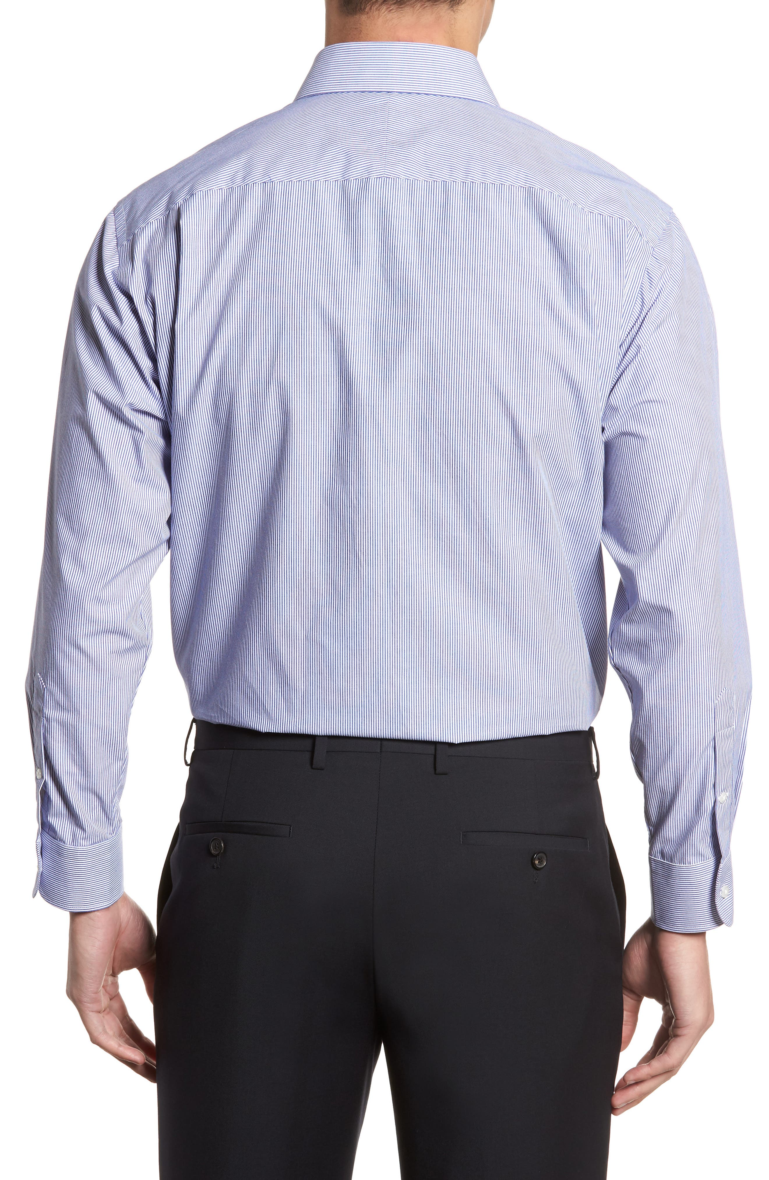 Classic Fit Non-Iron Stripe Dress Shirt,                             Alternate thumbnail 3, color,                             Navy Dusk