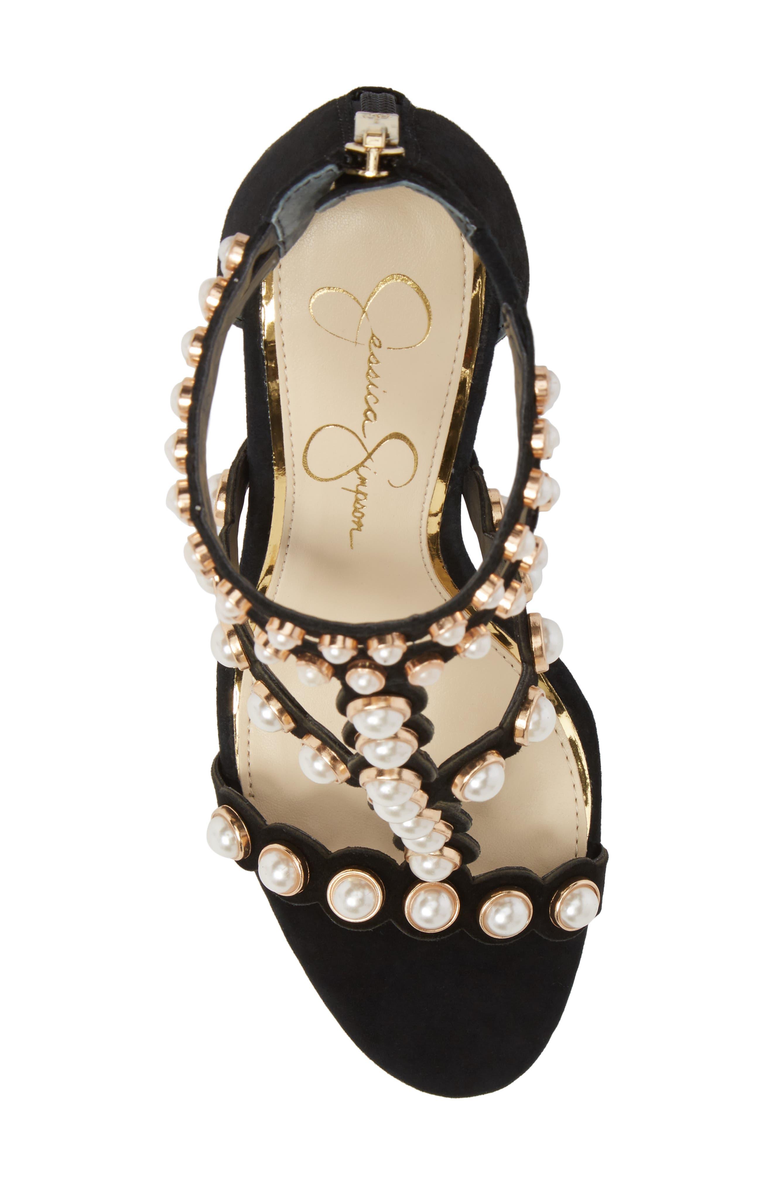 Eleia Imitation Pearl Stud Sandal,                             Alternate thumbnail 5, color,                             Black Suede