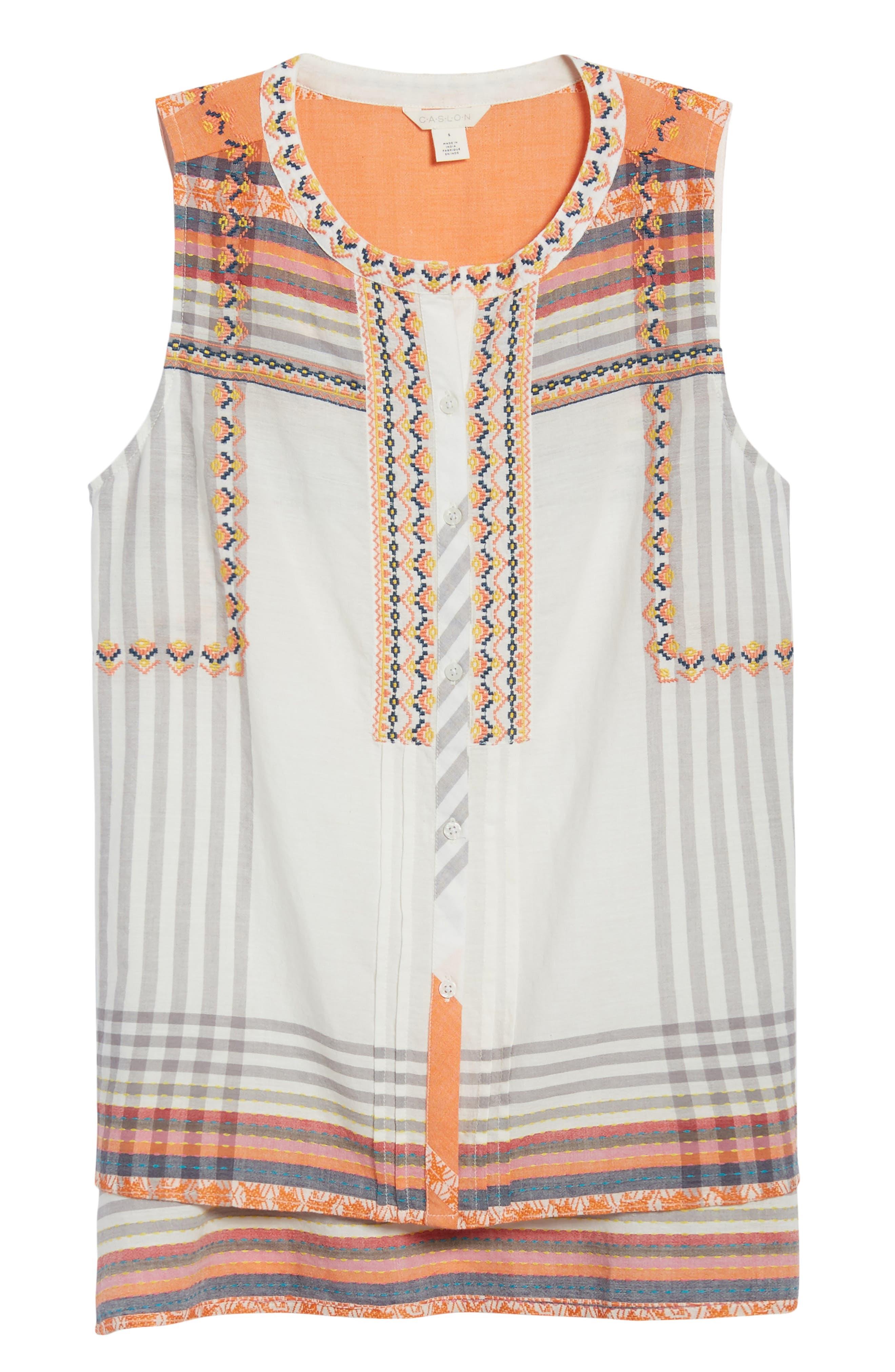 Embroidered Cotton Sleeveless Blouse,                             Alternate thumbnail 6, color,                             White- Grey