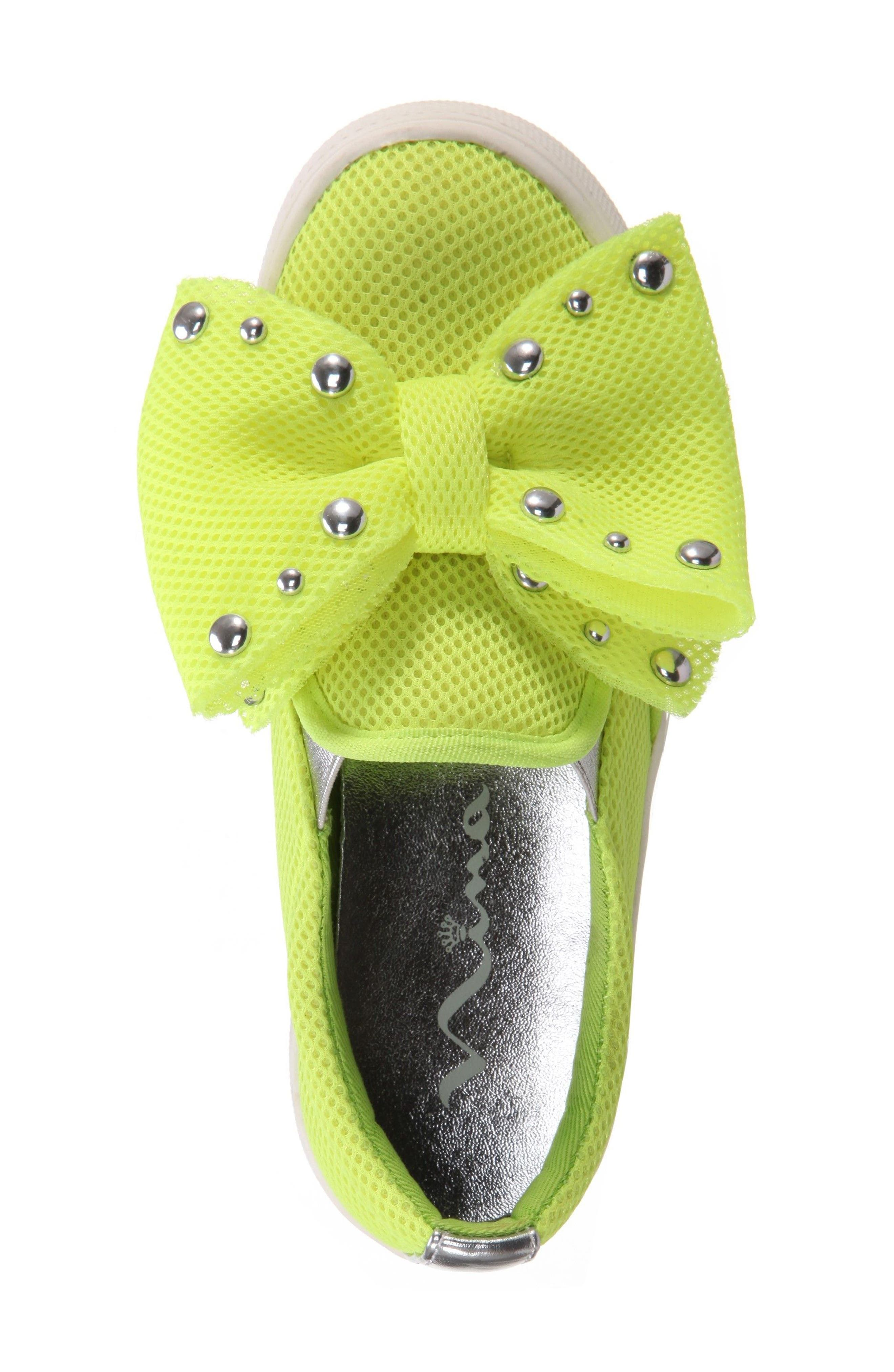 Mary Bow Slip-On Sneaker,                             Alternate thumbnail 5, color,                             Neon Yellow Mesh