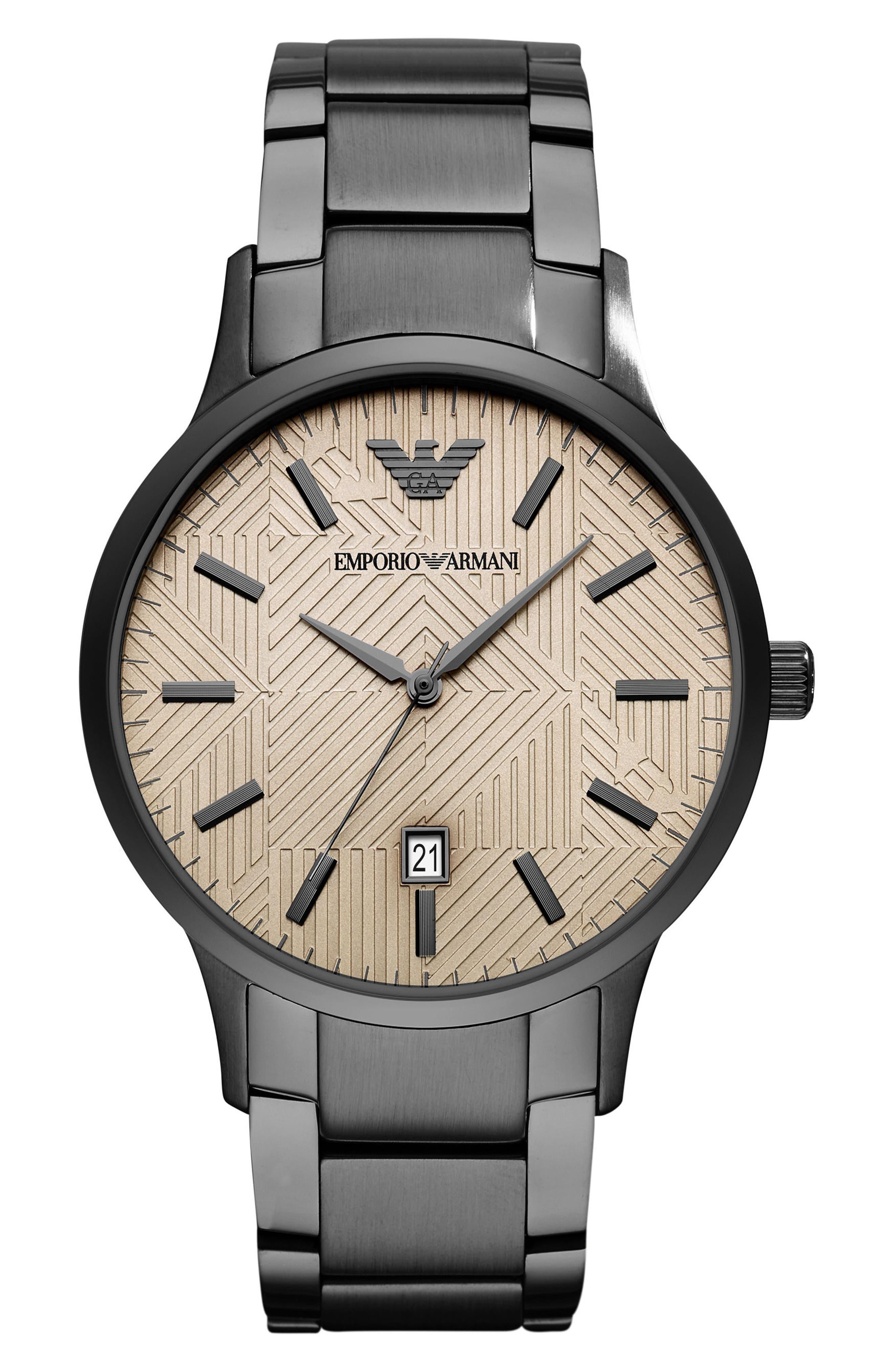 Round Bracelet Watch, 43mm,                             Main thumbnail 1, color,                             Tan/ Gunmetal