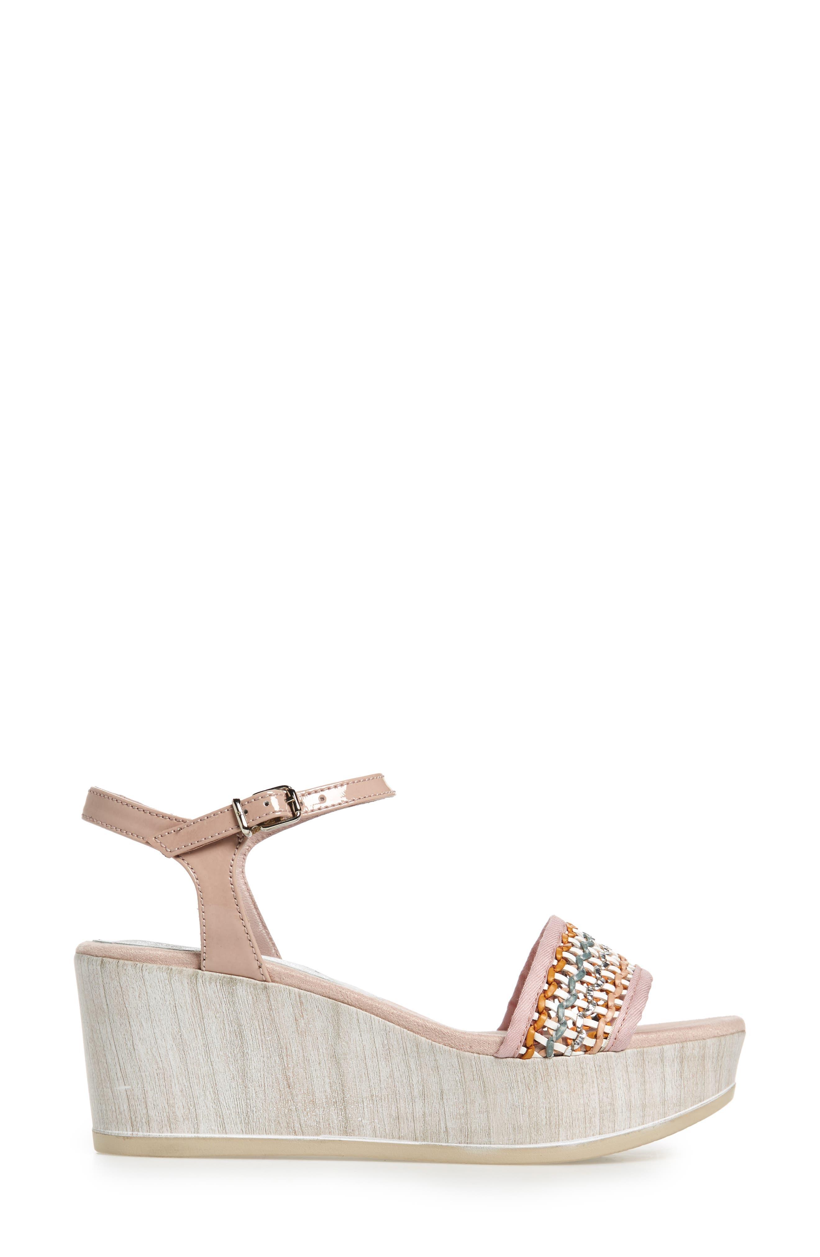 Colbi Platform Wedge Sandal,                             Alternate thumbnail 3, color,                             Amalfittana Leather