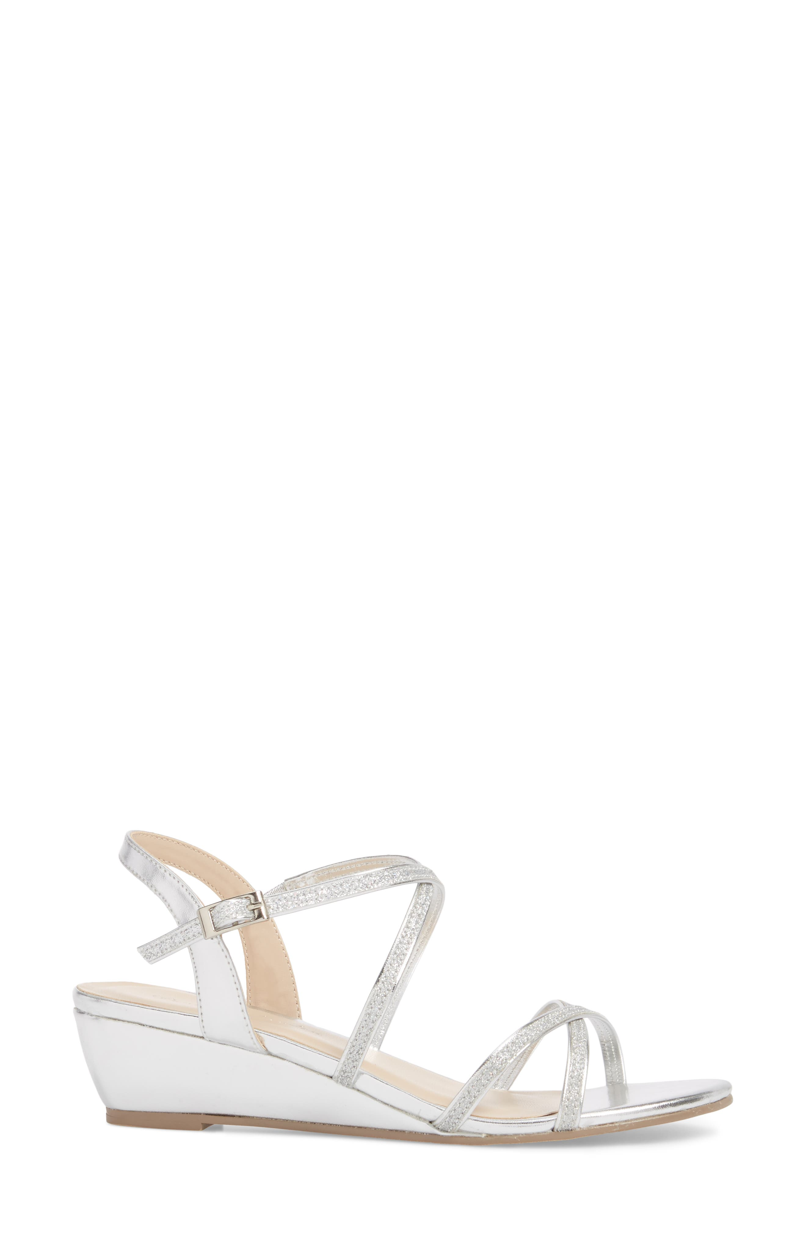 Kadie Wedge Sandal,                             Alternate thumbnail 3, color,                             Silver Glitter