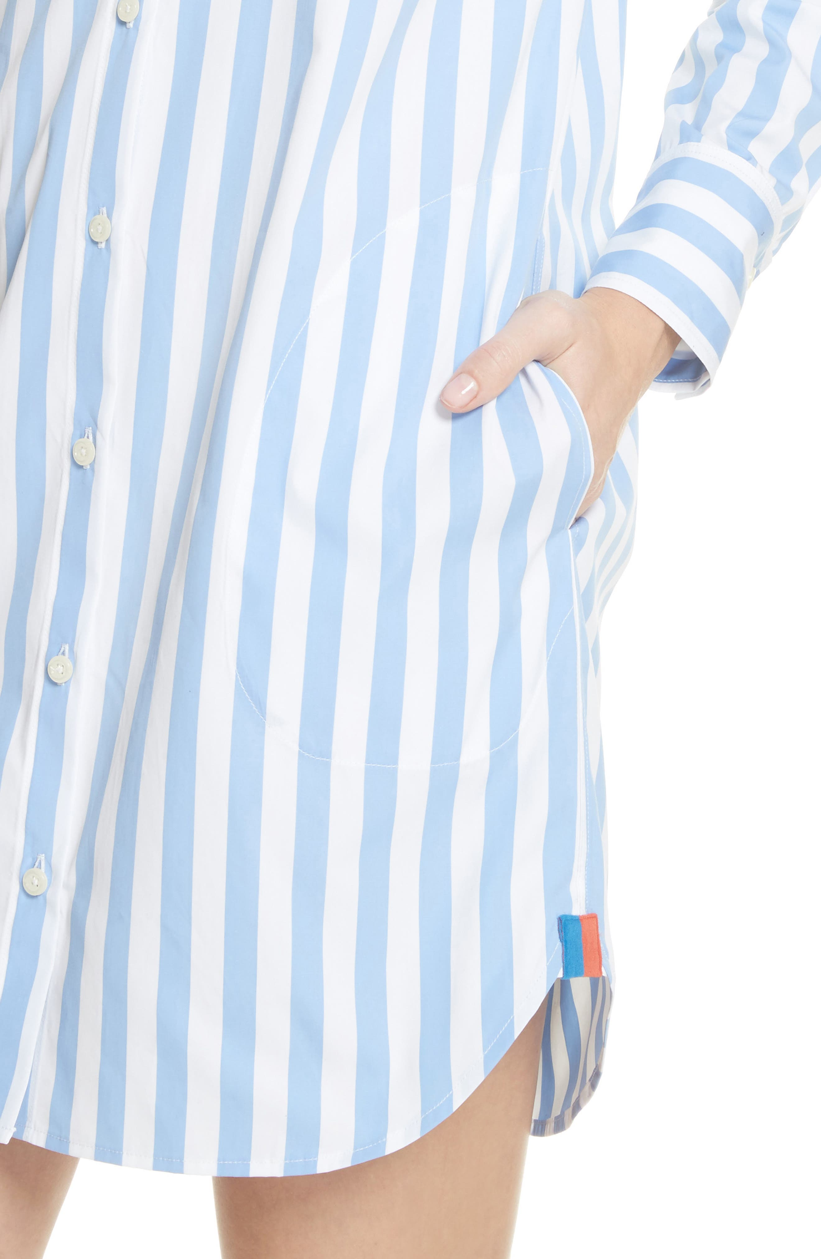 The Shirt Dress,                             Alternate thumbnail 4, color,                             White/ Sky Bold