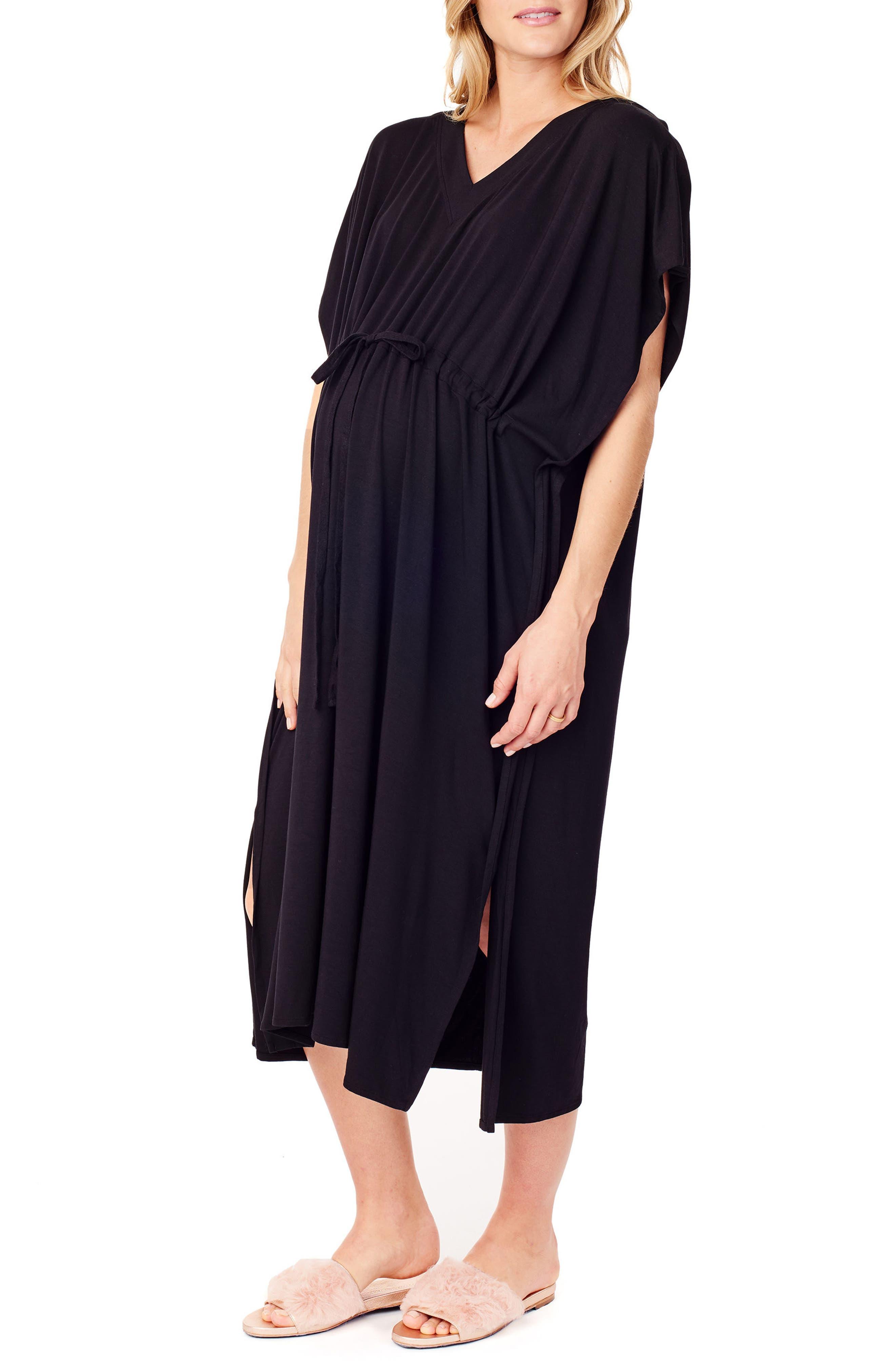 x James Fox & Co. Maternity/Nursing Hospital Gown,                             Alternate thumbnail 3, color,                             Jet Black