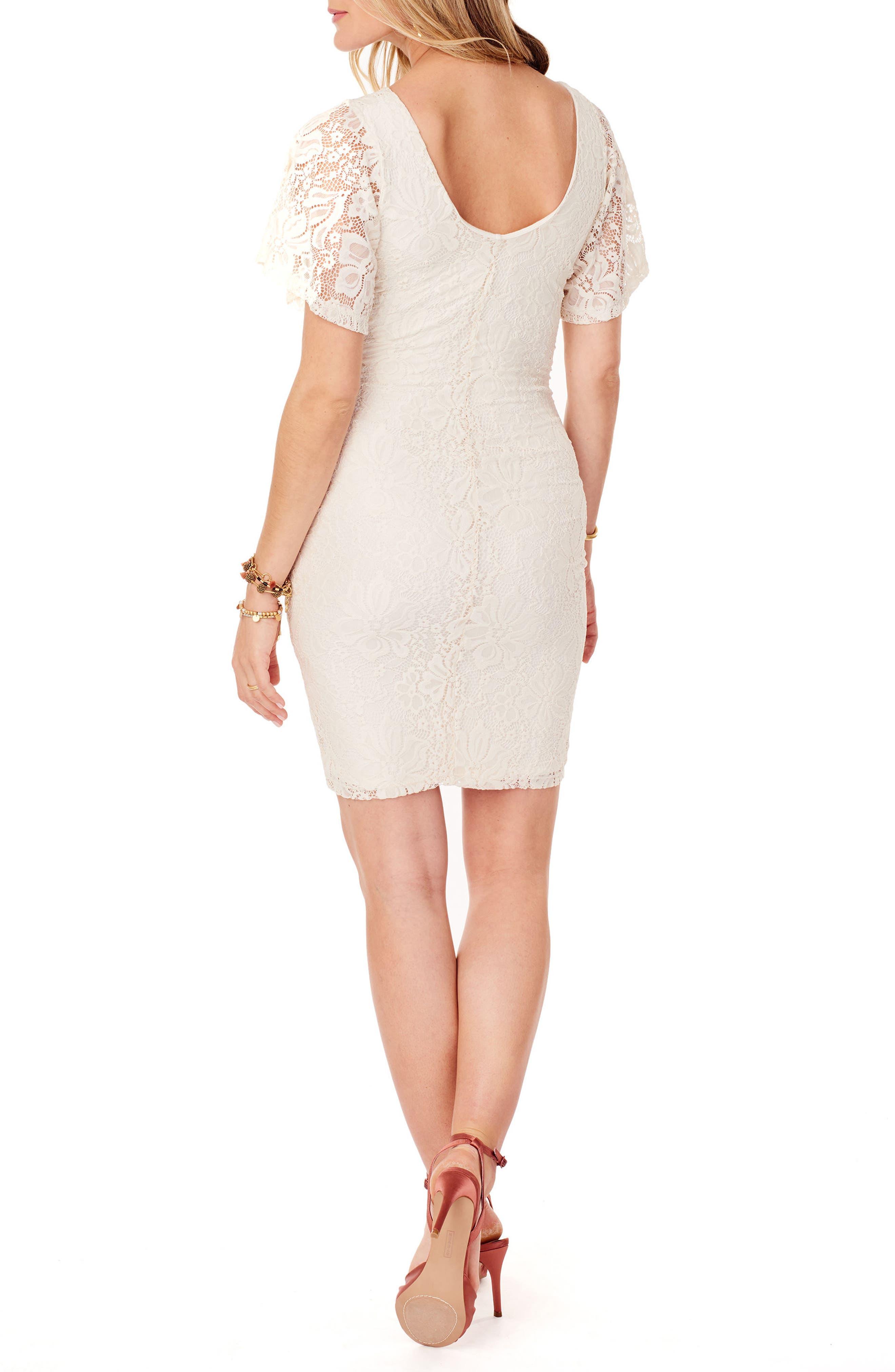 Flutter Sleeve Lace Maternity Dress,                             Alternate thumbnail 2, color,                             Ivory