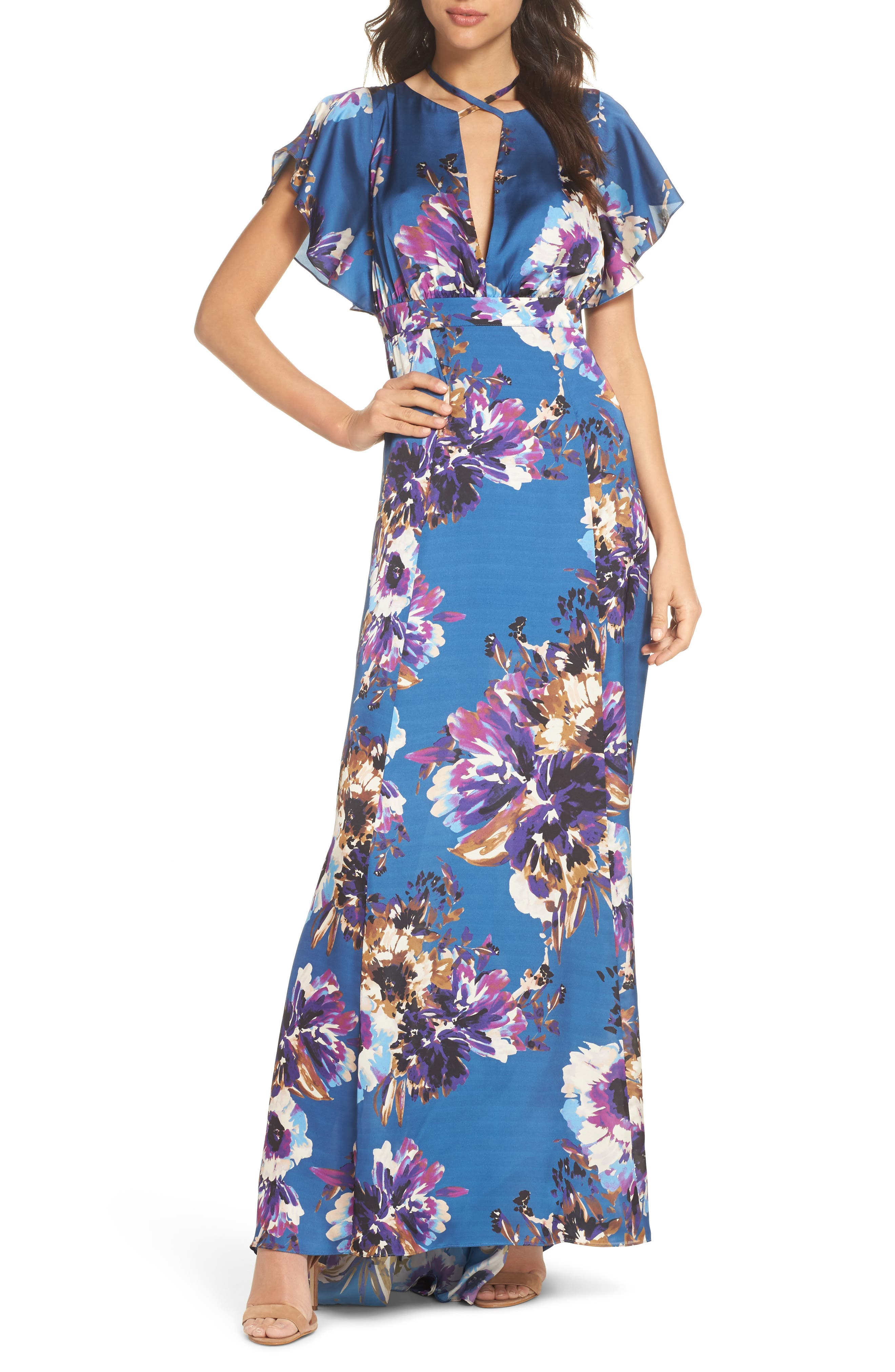 Floral Maxi Dress,                         Main,                         color, French Blue Floral Satin