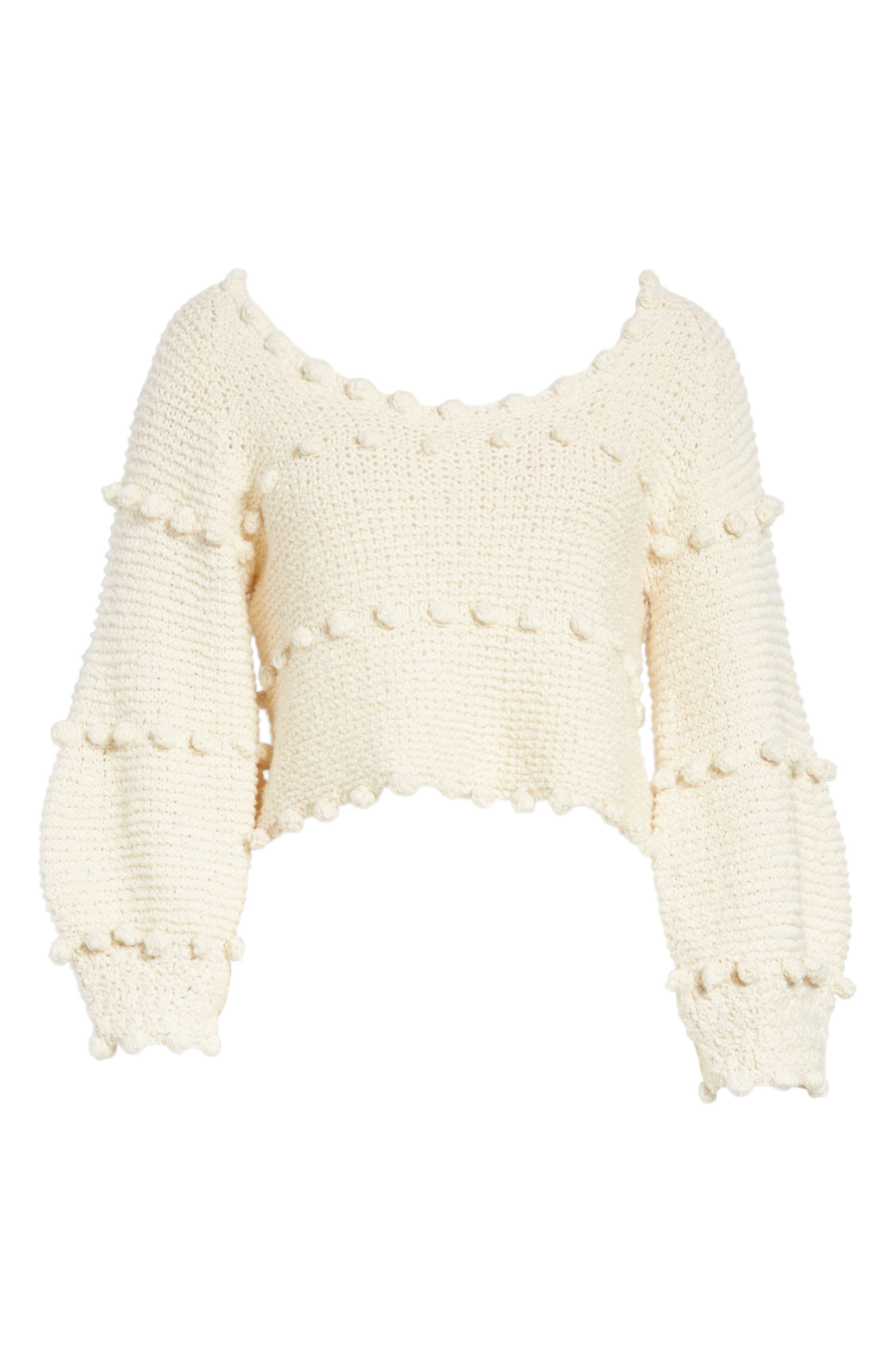 Hyacinth Pompom Stripe Sweater,                             Alternate thumbnail 6, color,                             Natural