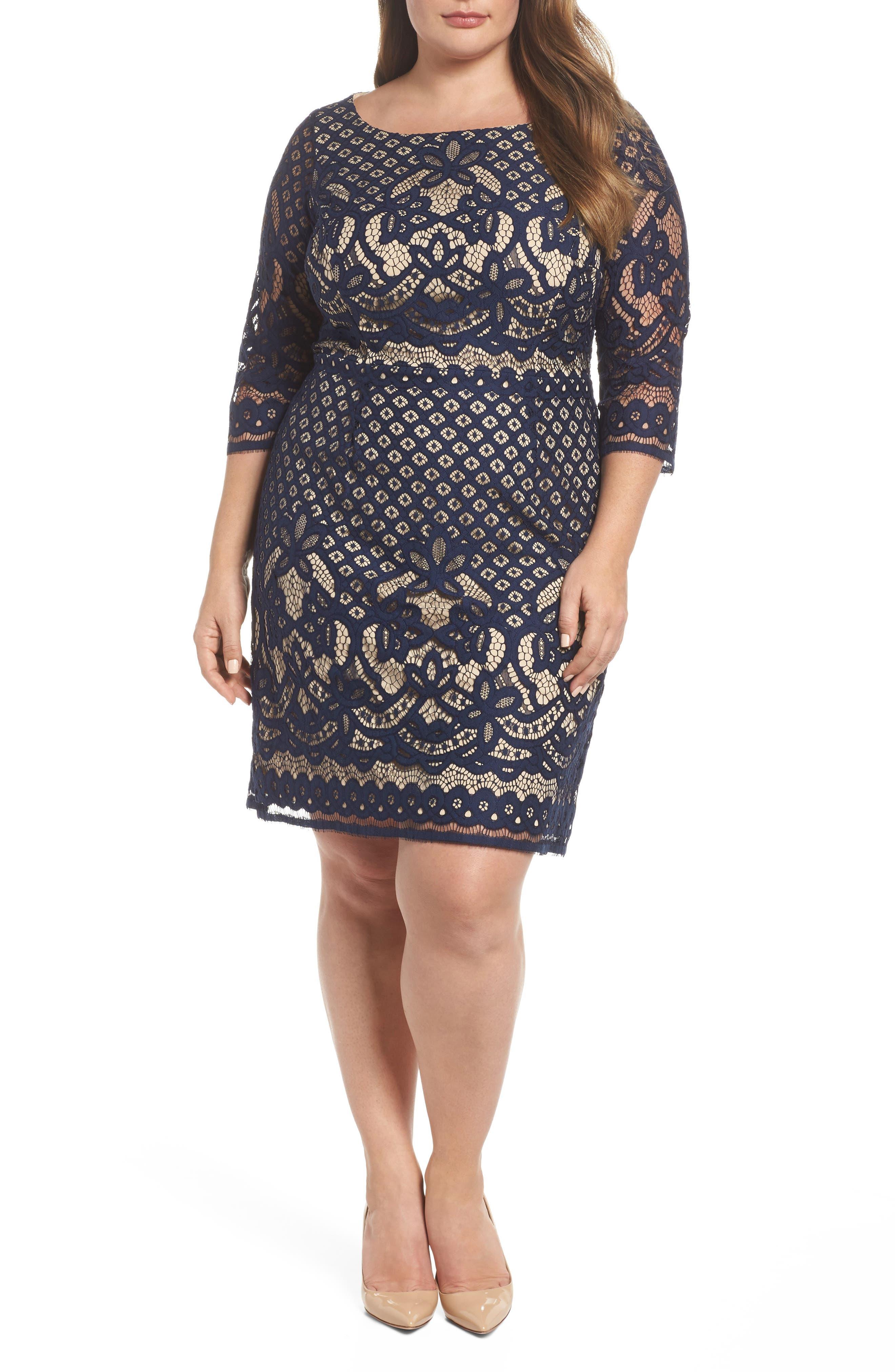 Lace Sheath Dress,                             Main thumbnail 1, color,                             Navy/ Nude