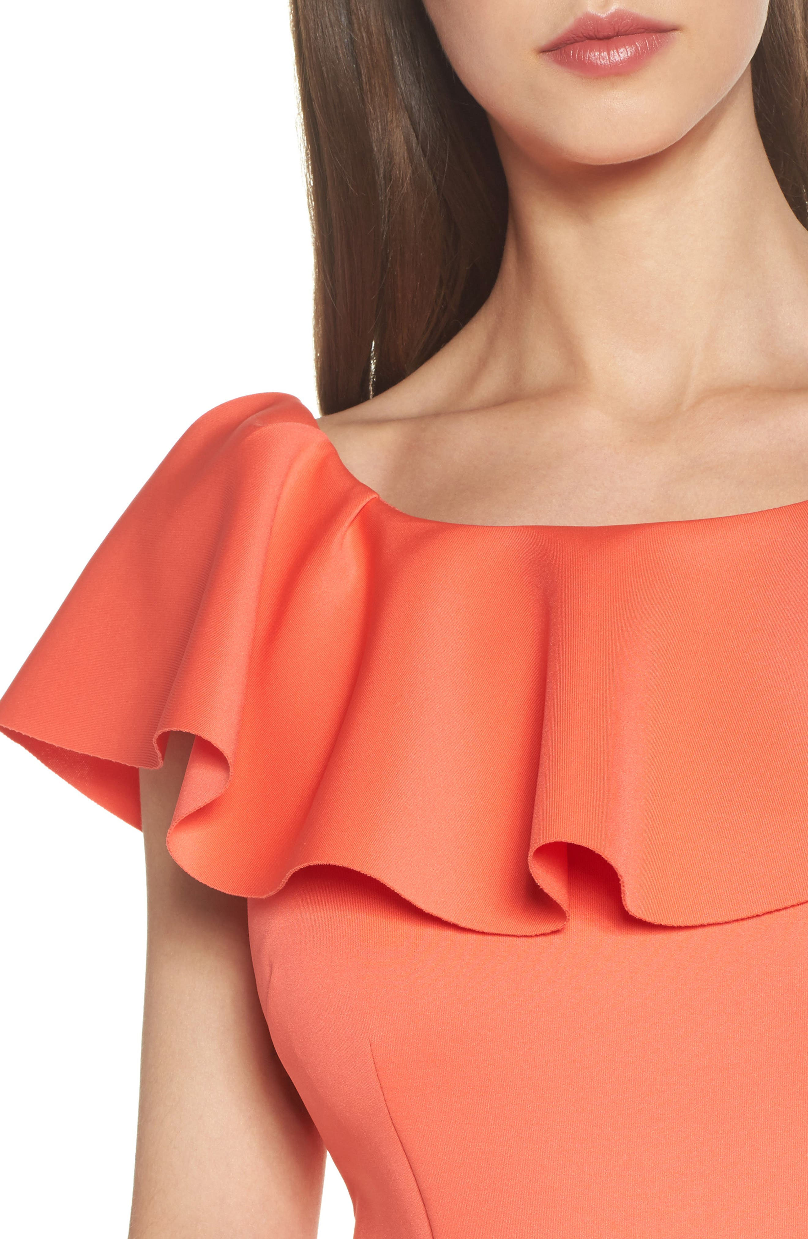 Off the Shoulder Ruffle Dress,                             Alternate thumbnail 4, color,                             Coral