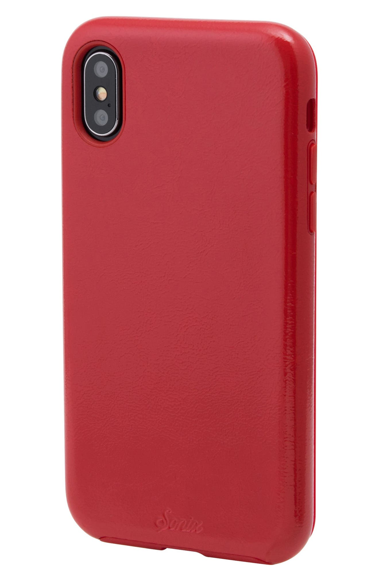Cherry Faux Leather iPhone X Case,                             Alternate thumbnail 2, color,                             Cherry Red
