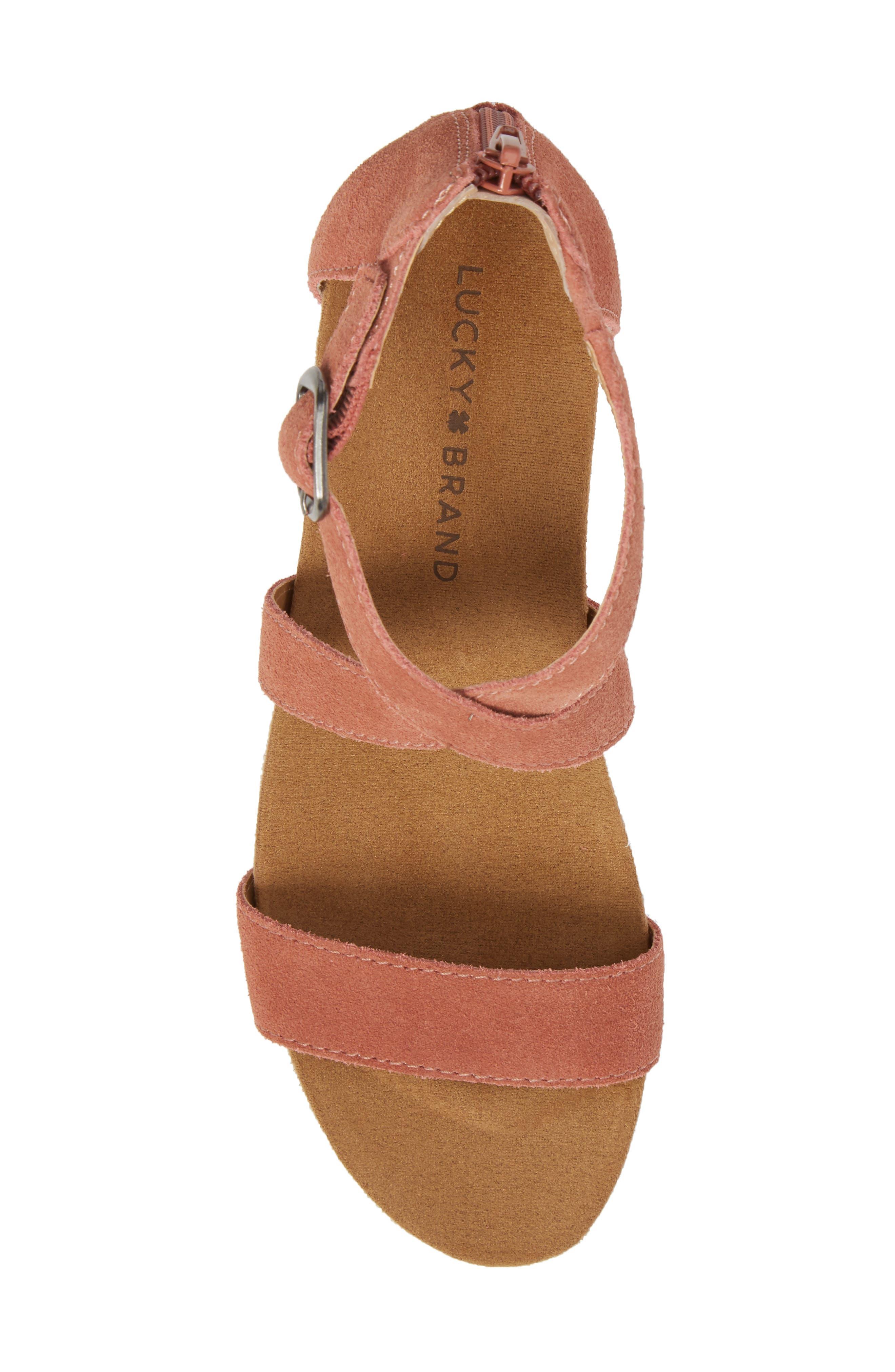 Kenadee Wedge Sandal,                             Alternate thumbnail 5, color,                             Canyon Rose Suede