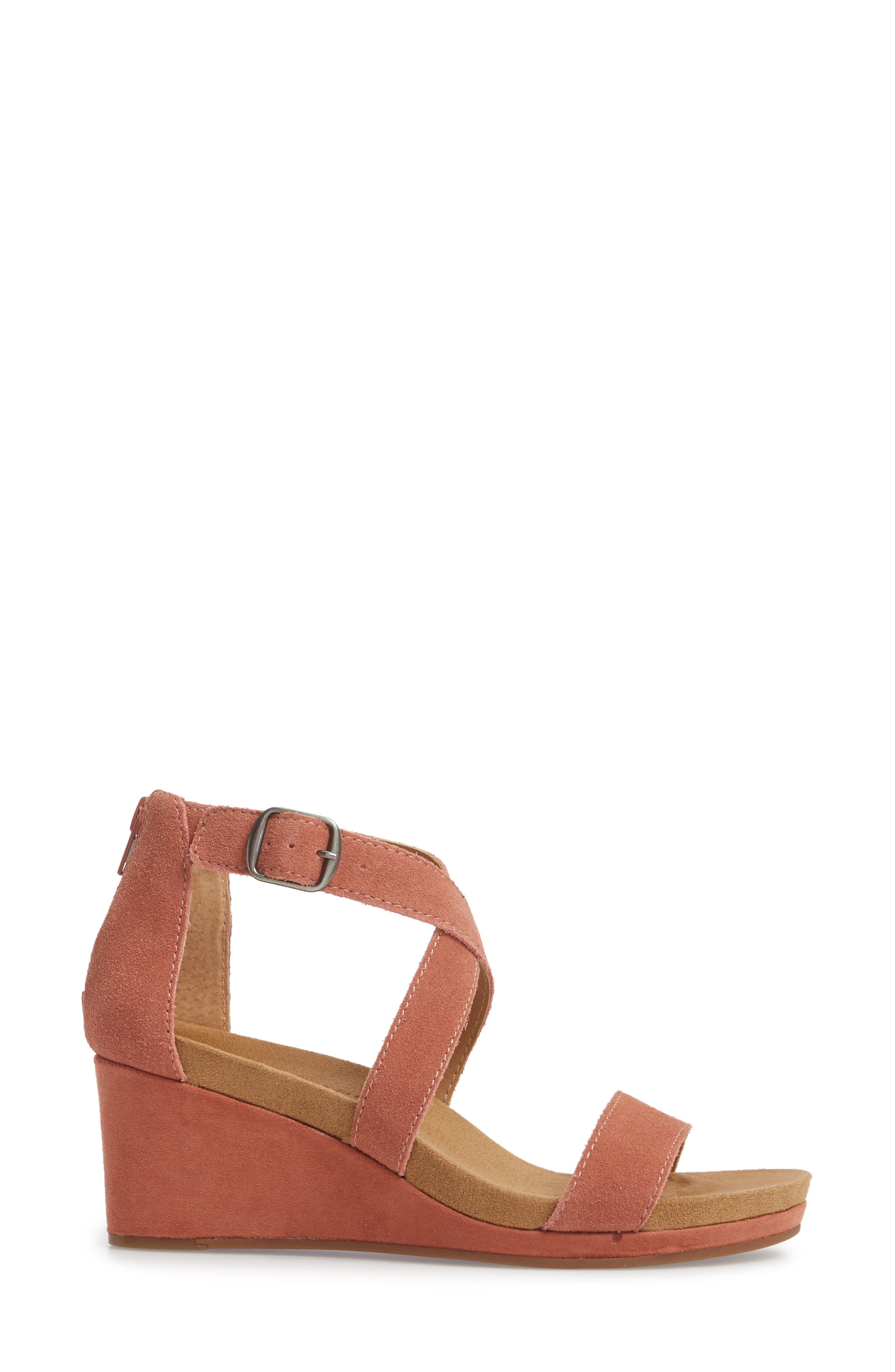 Kenadee Wedge Sandal,                             Alternate thumbnail 3, color,                             Canyon Rose Suede