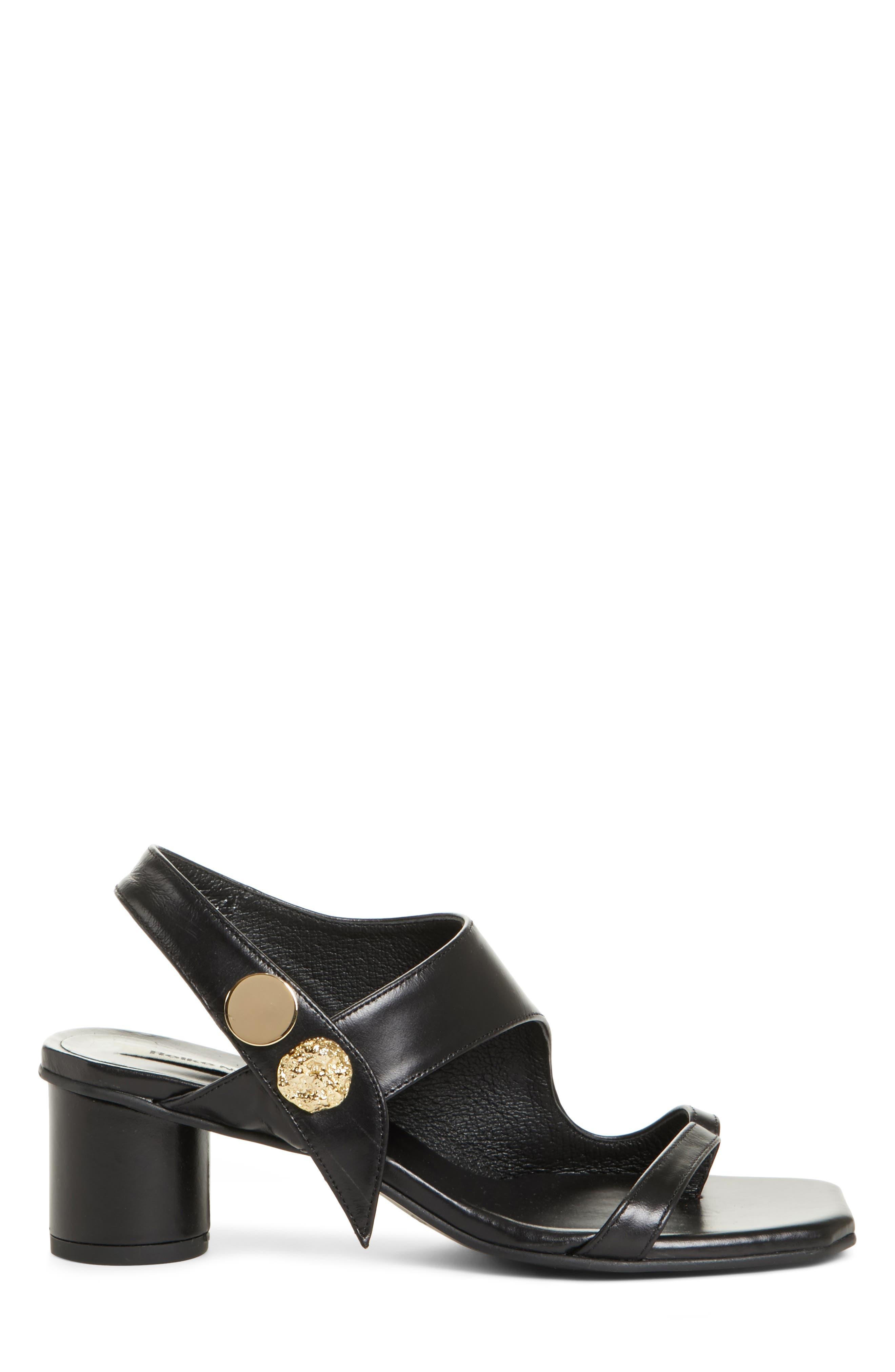 Embellished Leather Sandal,                             Alternate thumbnail 4, color,                             Black