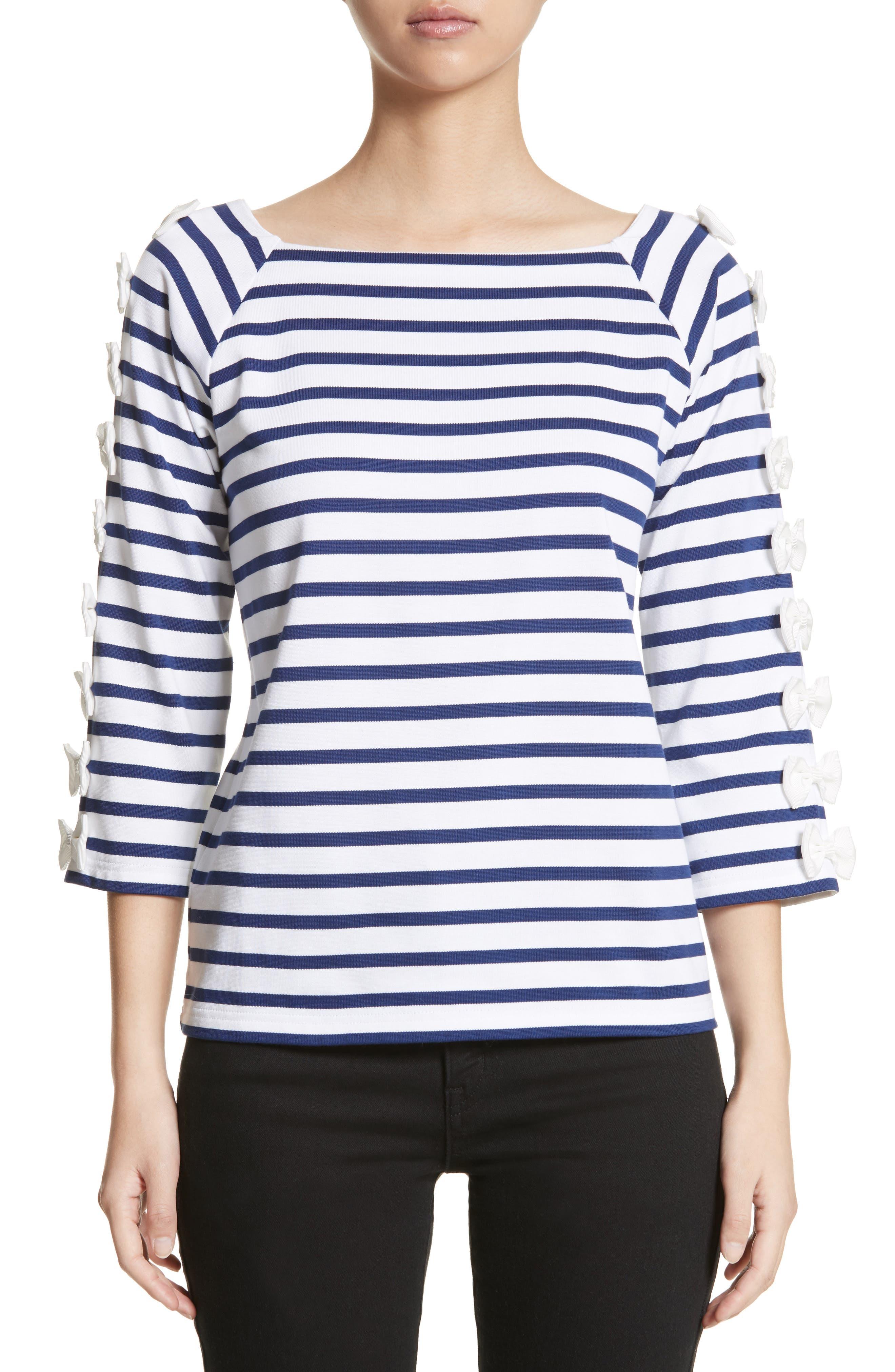 Bow Sleeve Stripe Tee,                         Main,                         color, Blue
